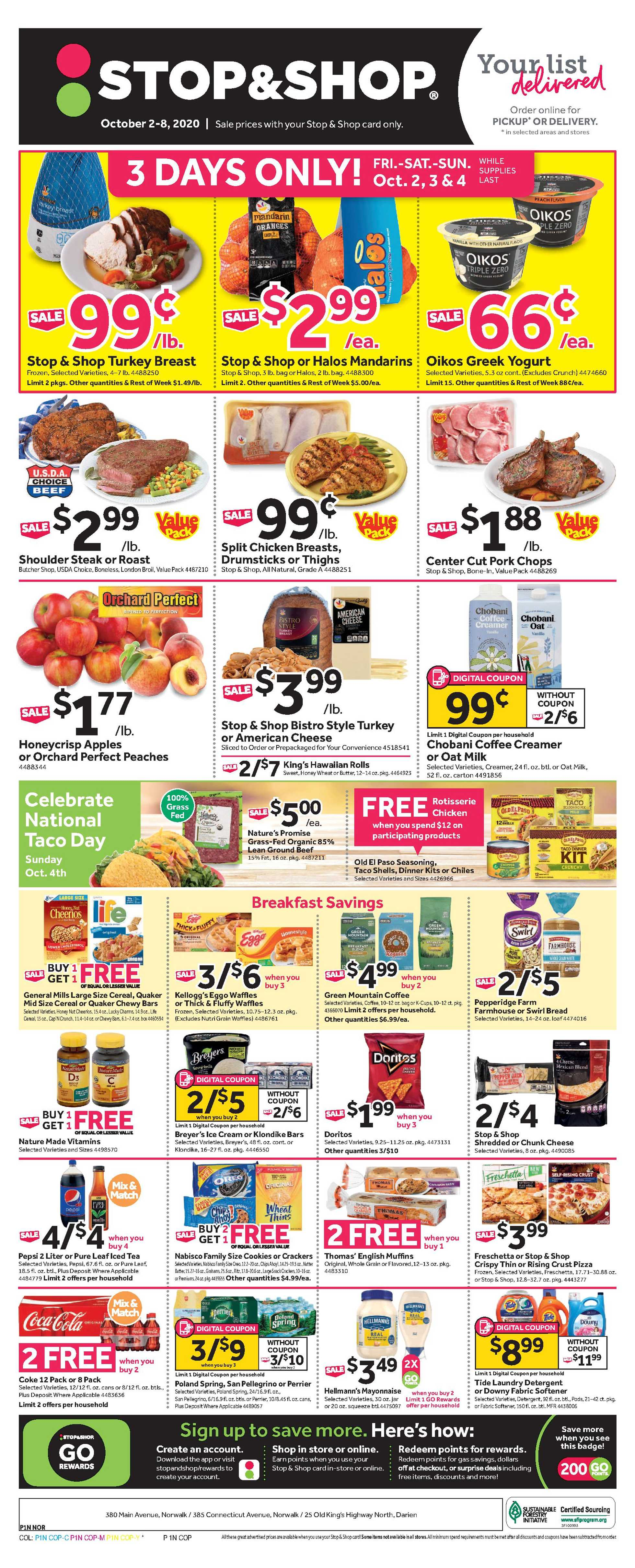 Stop & Shop - deals are valid from 10/02/20 to 10/08/20 - page 1.