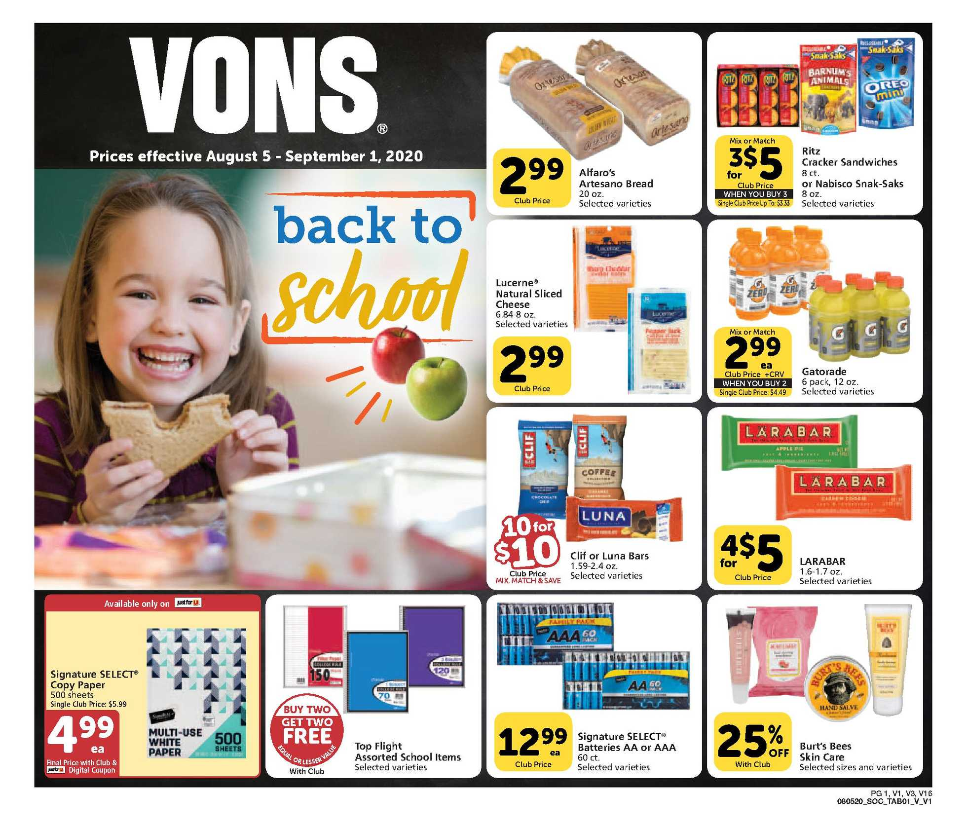 Vons - deals are valid from 08/05/20 to 09/01/20 - page 1.
