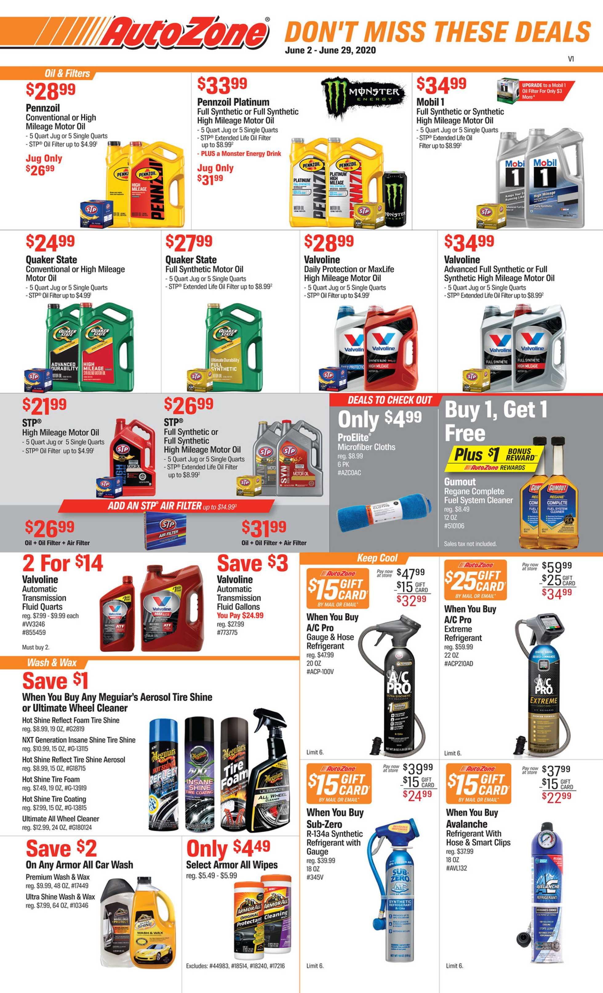 AutoZone - deals are valid from 06/02/20 to 06/29/20 - page 1.