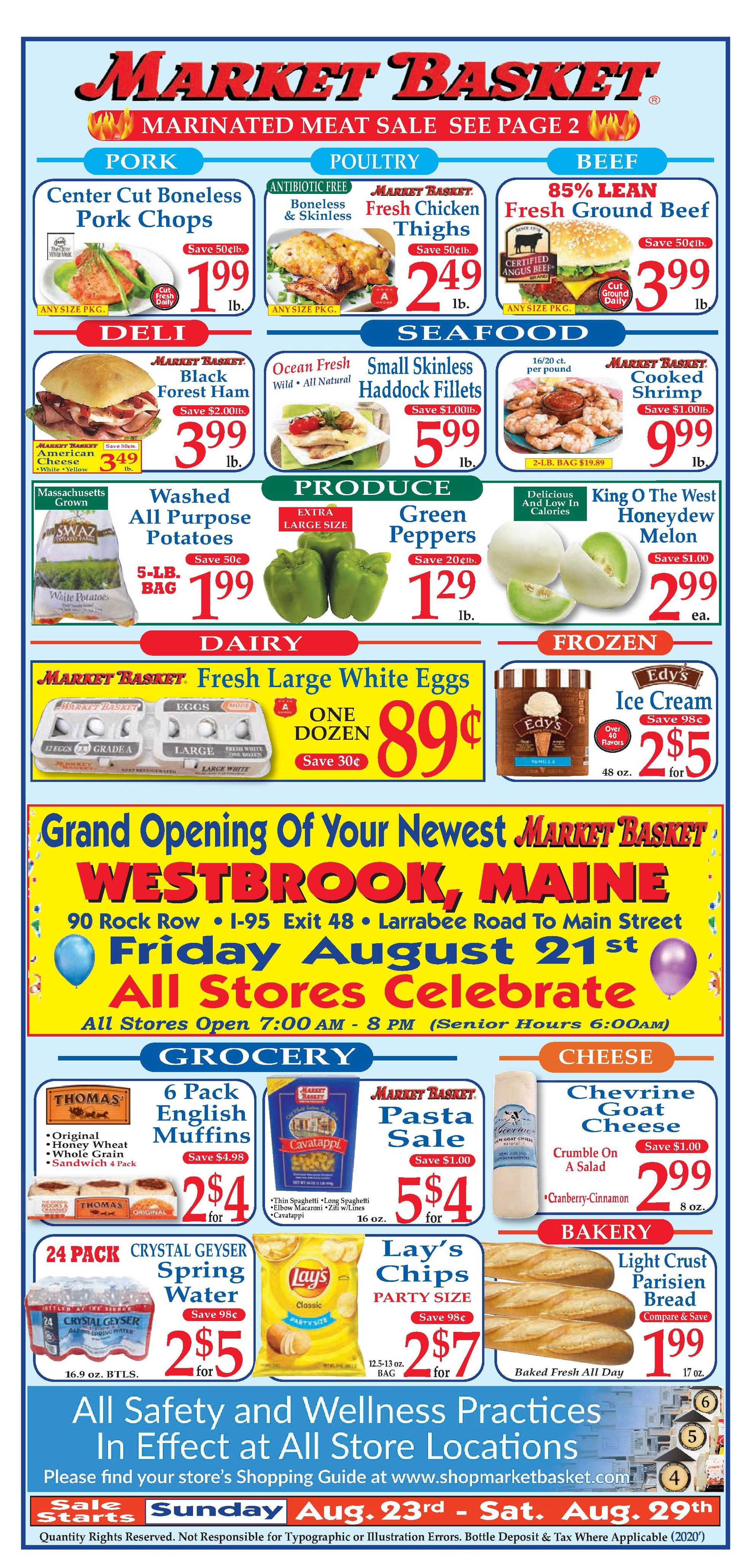 Market Basket - deals are valid from 08/23/20 to 08/29/20 - page 1.