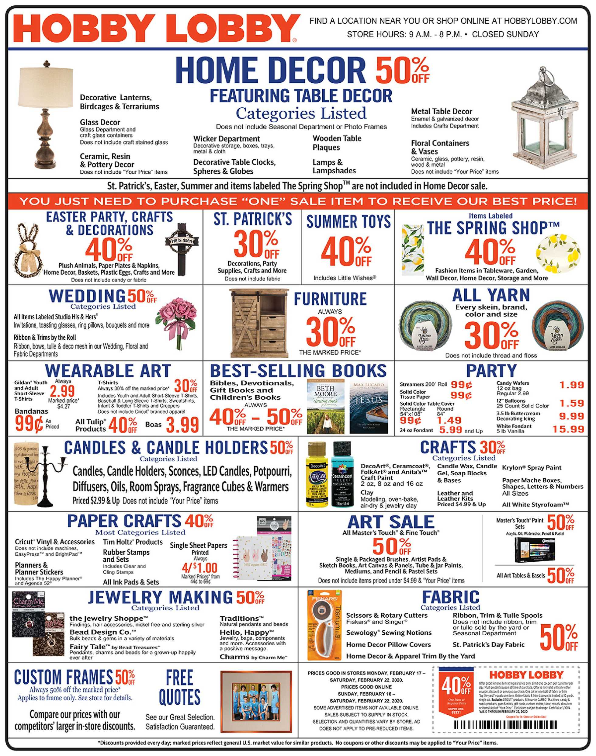 Hobby Lobby - promo starting from 02/16/20 to 02/22/20 - page 1.