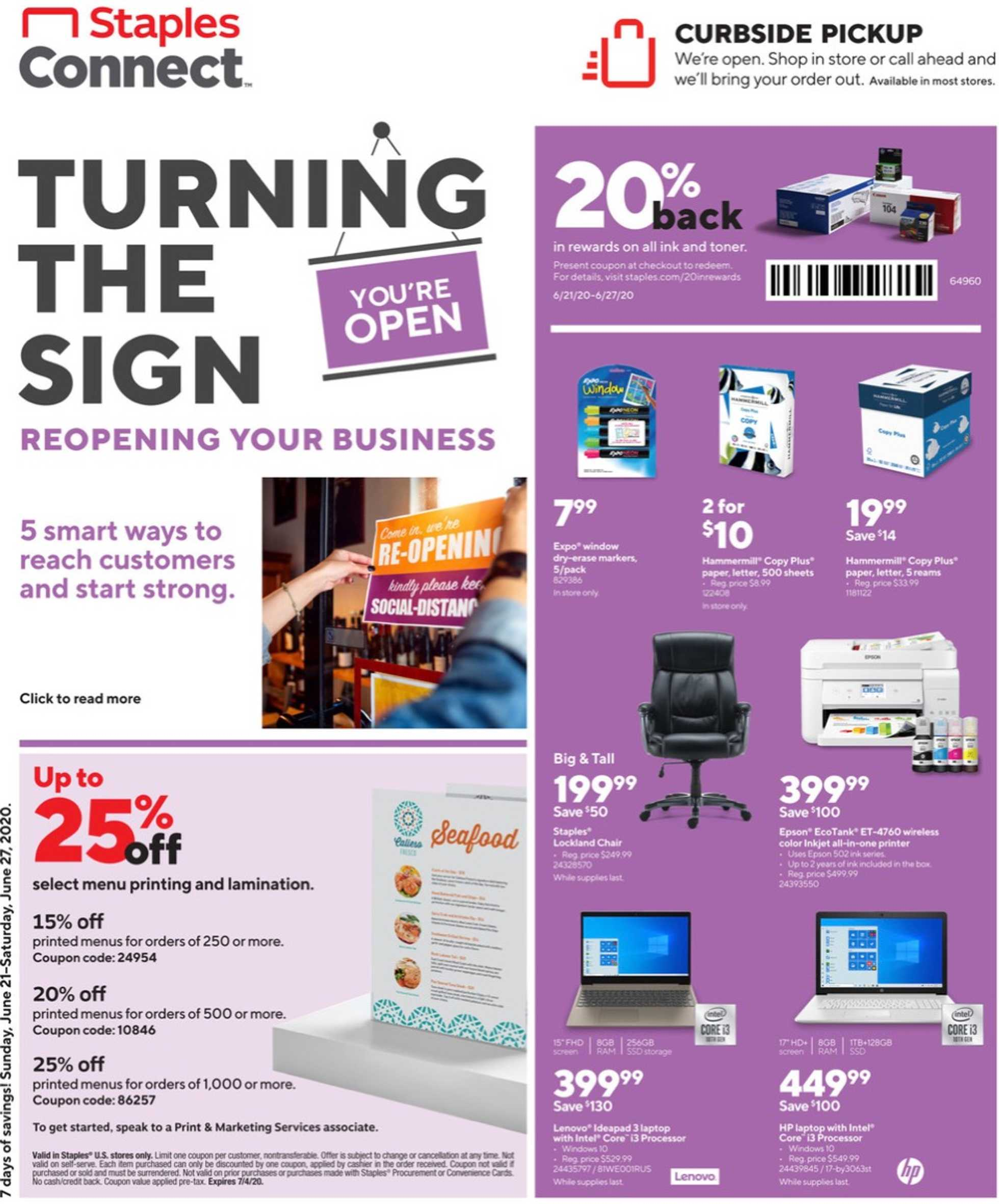 Staples - deals are valid from 06/21/20 to 06/27/20 - page 1.