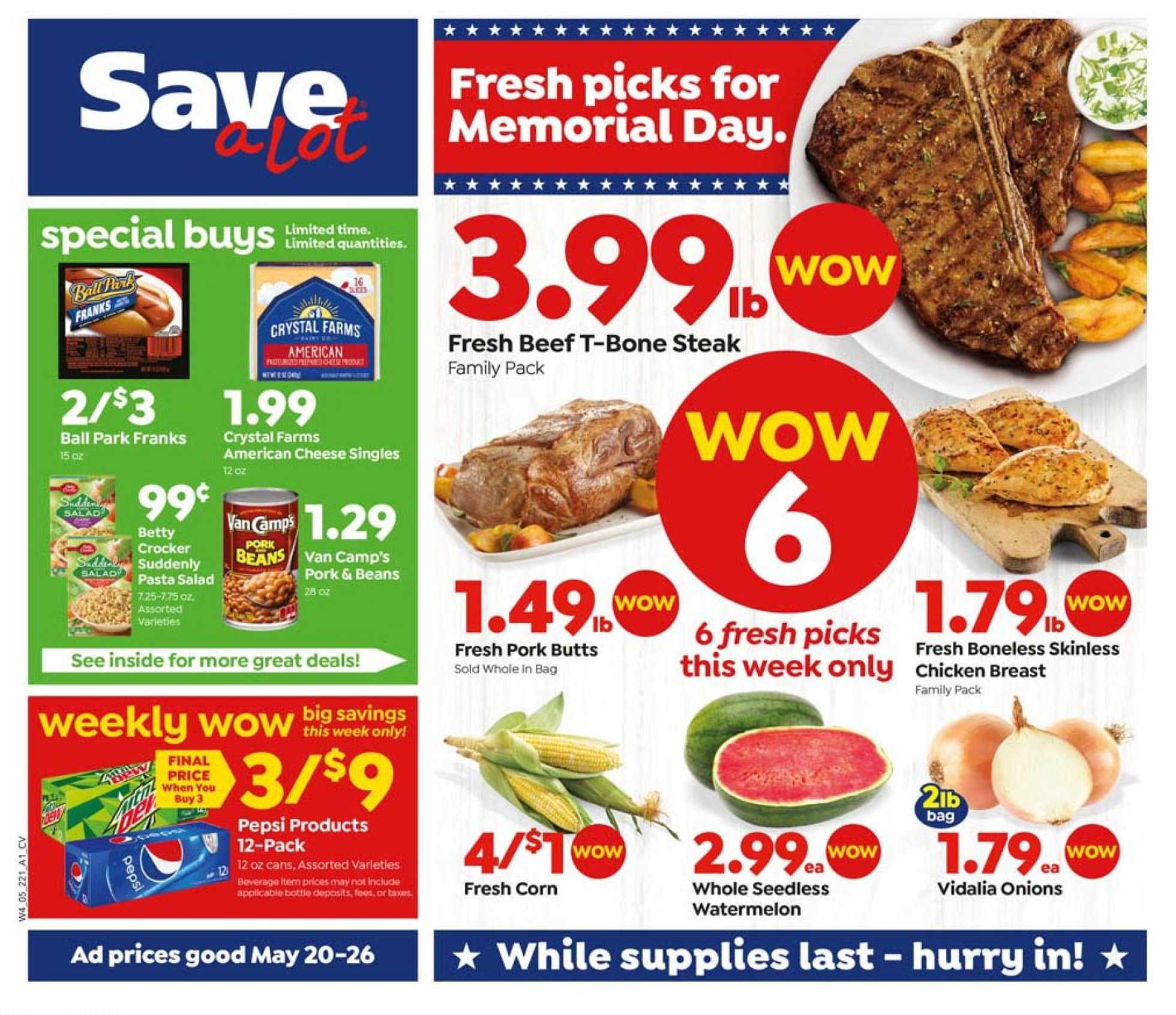 Save-A-Lot - deals are valid from 05/20/20 to 05/26/20 - page 1.