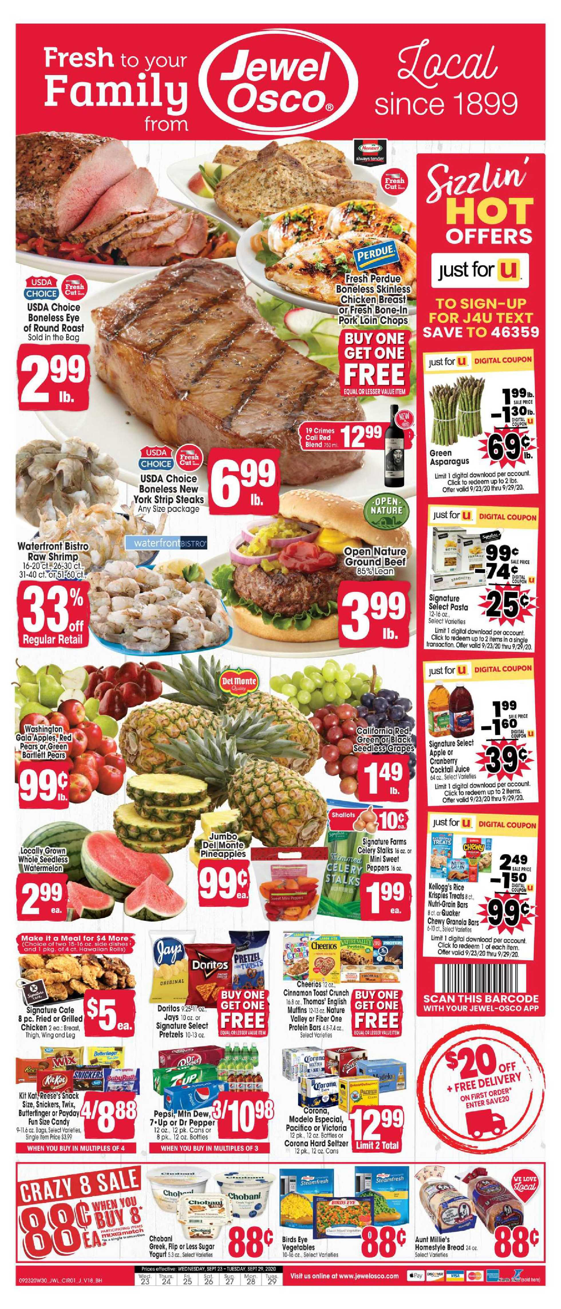 Jewel Osco - deals are valid from 09/23/20 to 09/29/20 - page 1.