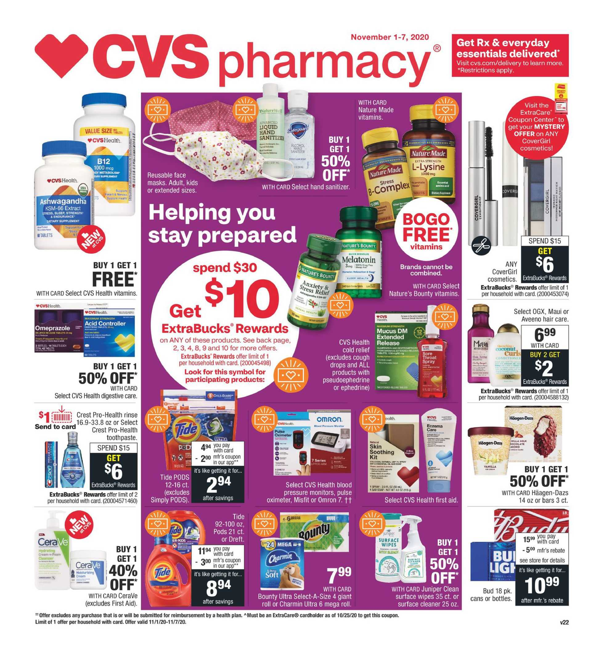 CVS - deals are valid from 11/01/20 to 11/07/20 - page 1.