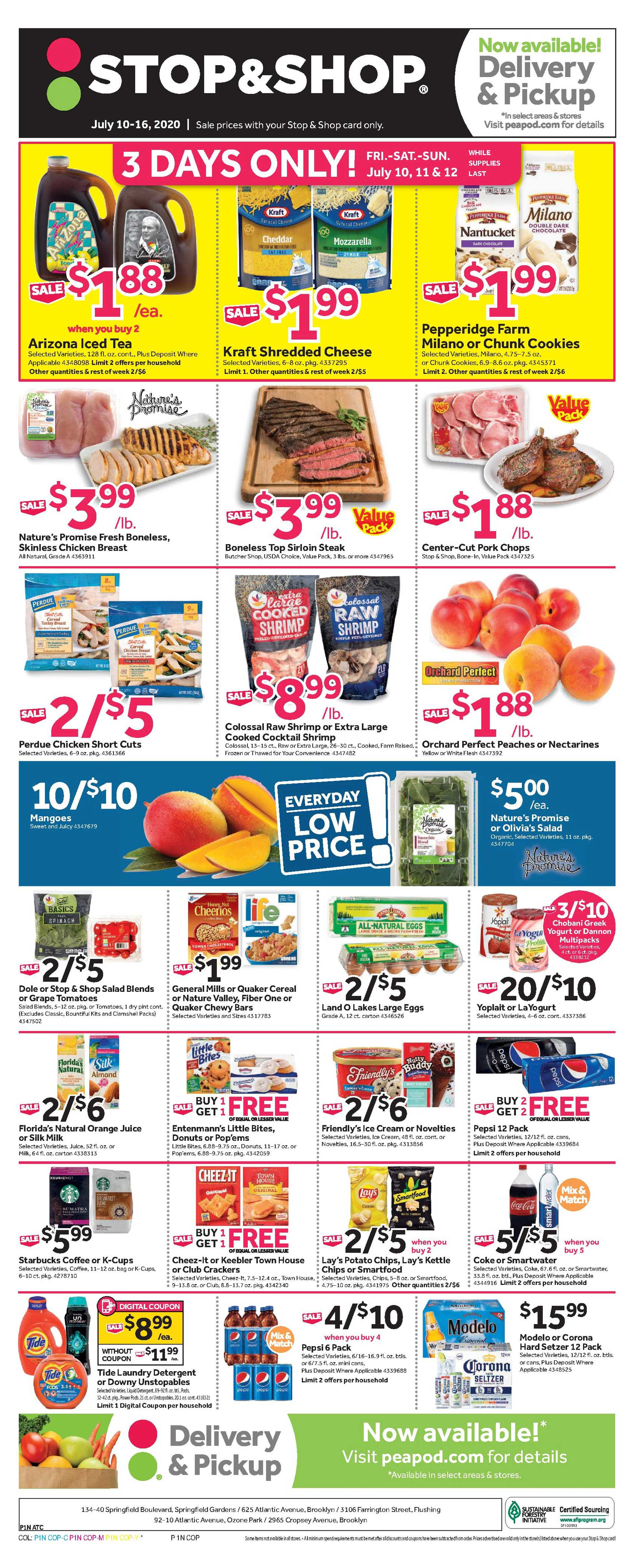 Stop & Shop - deals are valid from 07/10/20 to 07/16/20 - page 1.