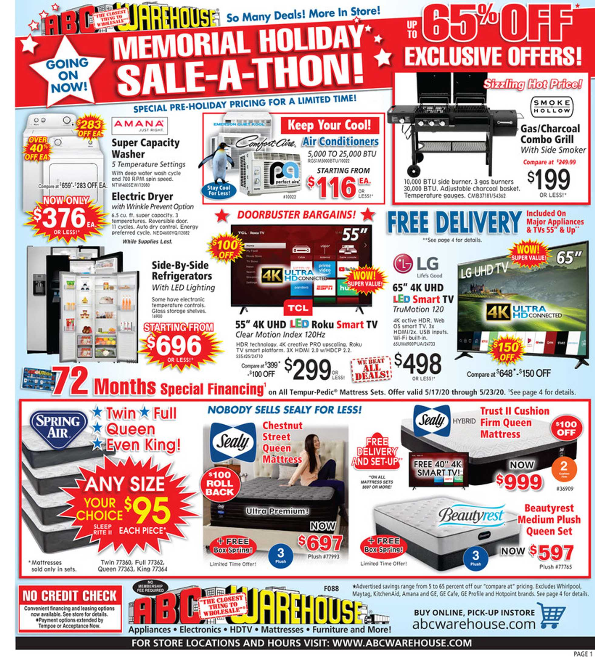 ABC Warehouse - deals are valid from 05/17/20 to 05/23/20 - page 1.