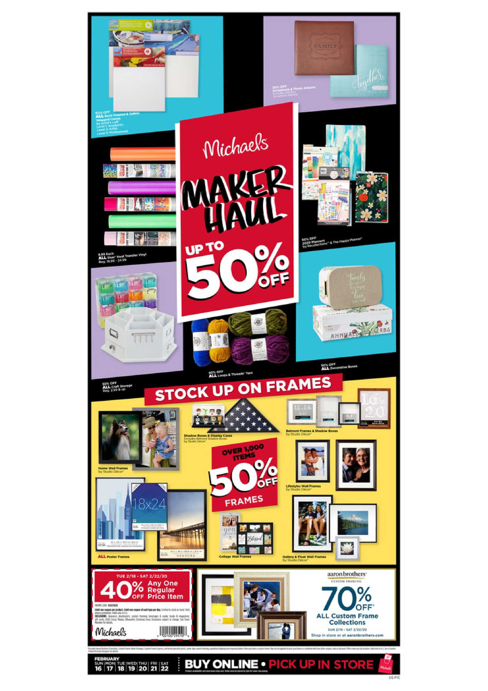 Michaels - promo starting from 02/16/20 to 02/22/20 - page 1.