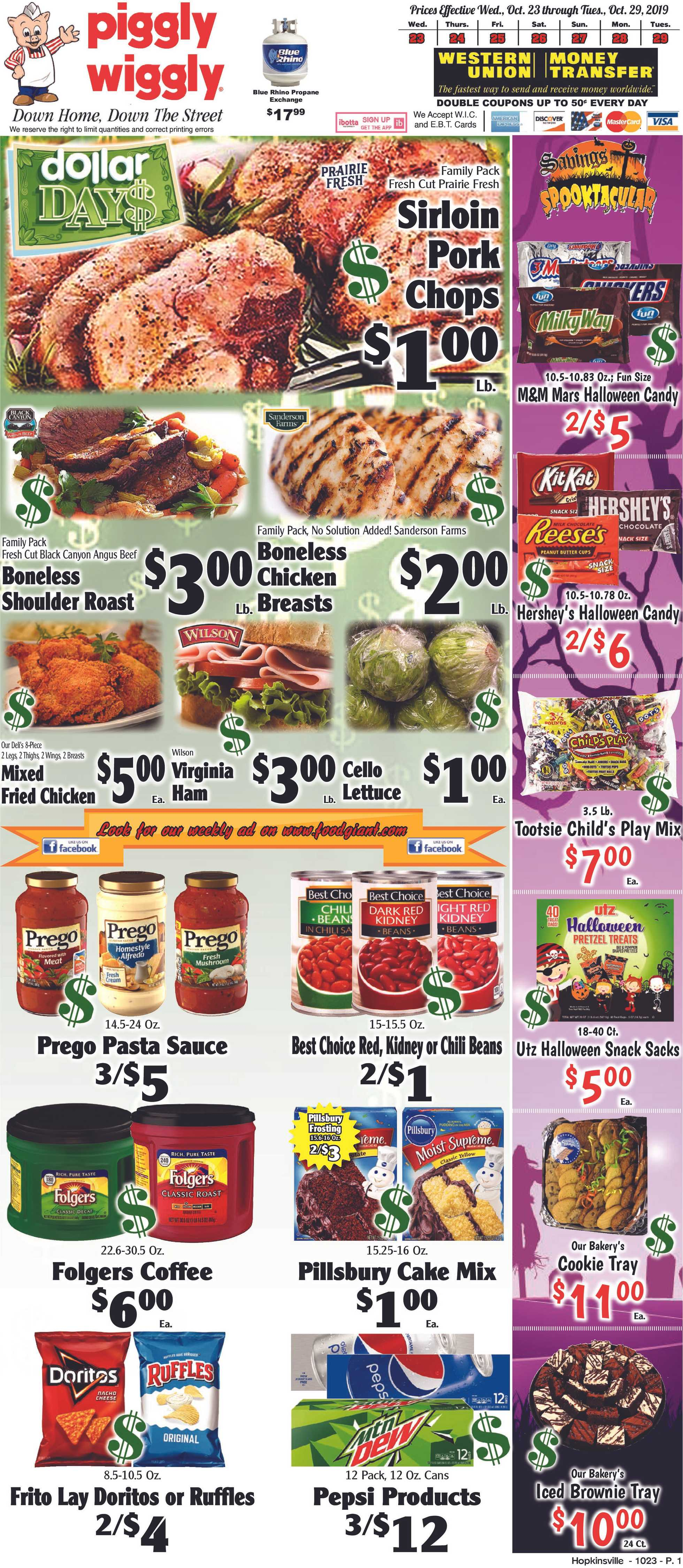 Piggly Wiggly - deals are valid from 10/23/19 to 10/29/19 - page 1.