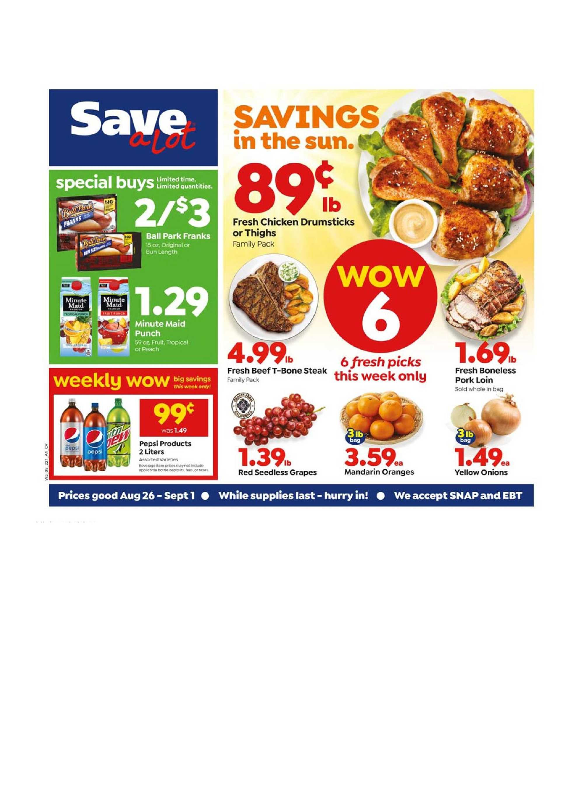 Save-A-Lot - deals are valid from 08/26/20 to 09/01/20 - page 1.