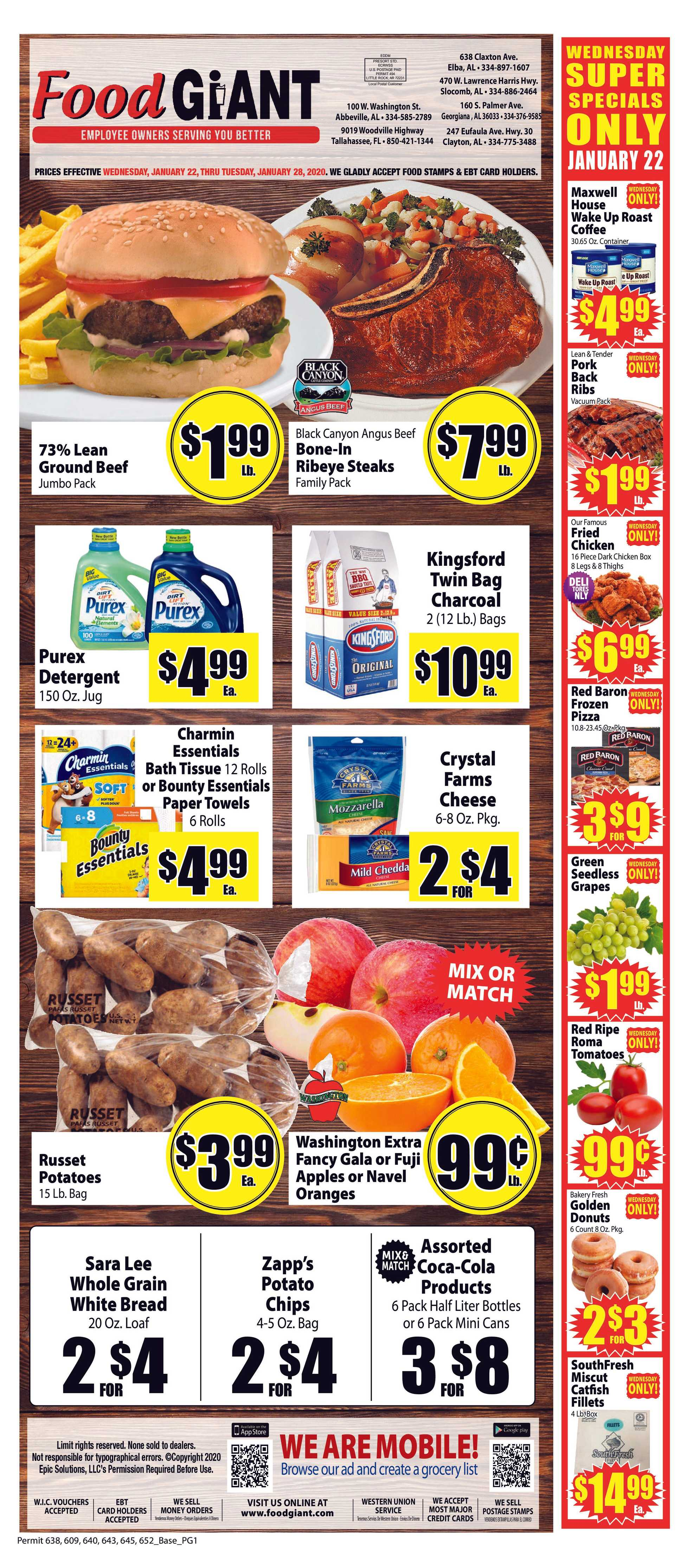Food Giant - promo starting from 01/22/20 to 01/28/20 - page 1.