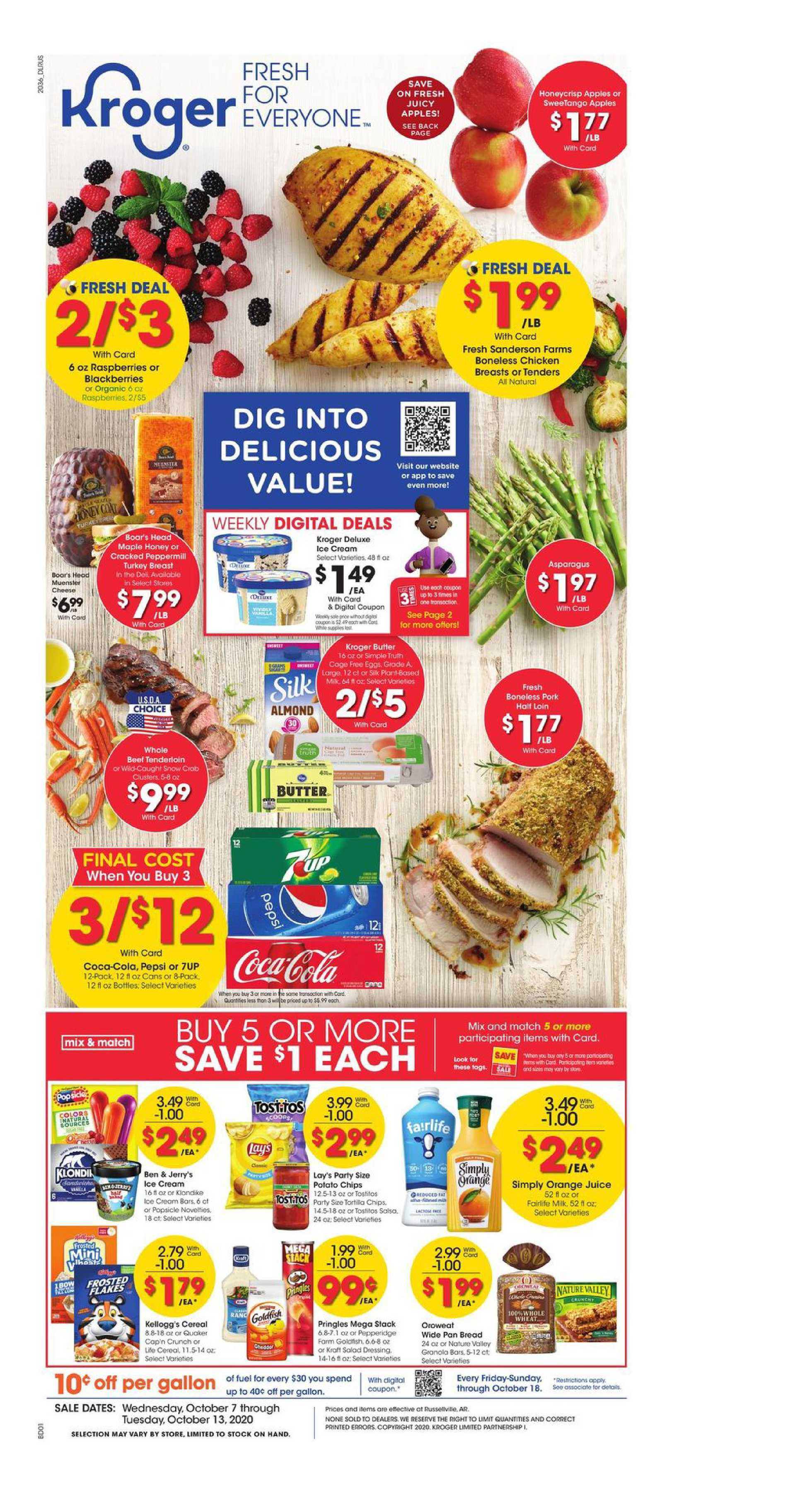 Kroger - deals are valid from 10/07/20 to 10/13/20 - page 1.
