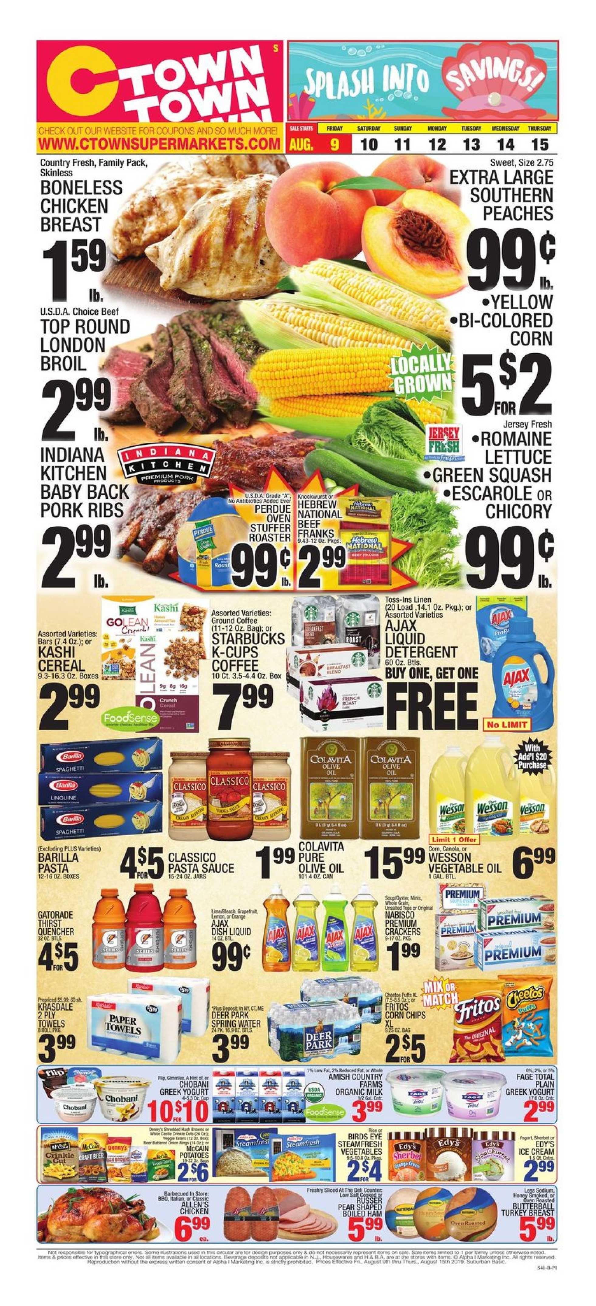 C-Town - deals are valid from 08/09/19 to 08/15/19 - page 1.