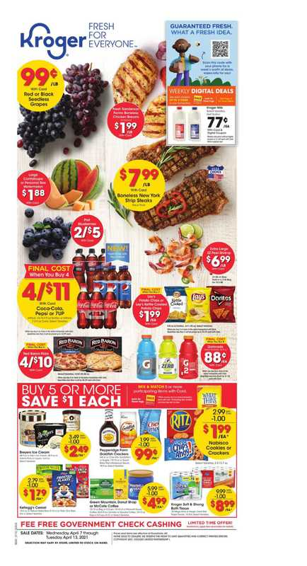 Kroger - deals are valid from 04/07/21 to 04/13/21 - page 1.