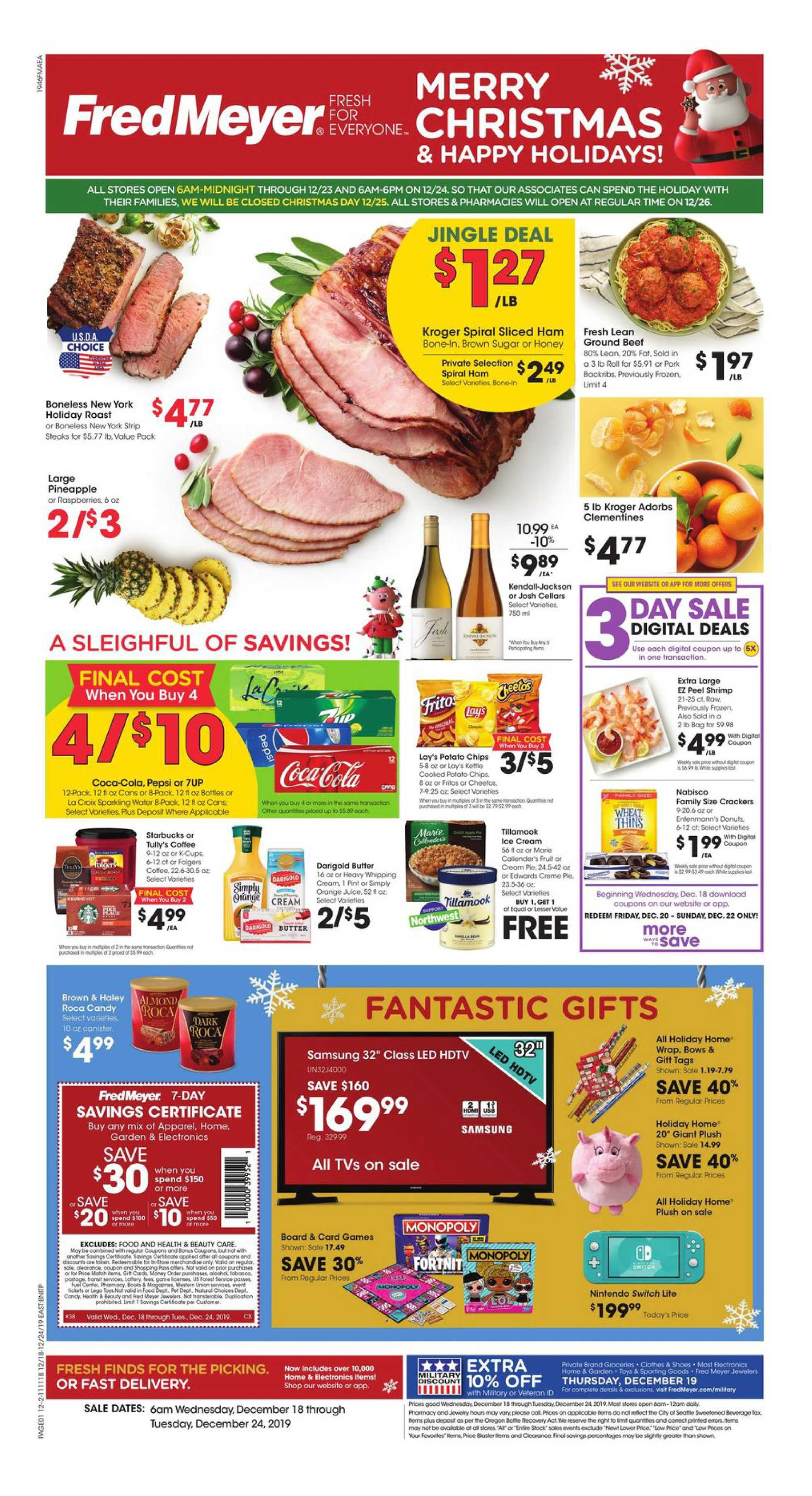 Fred Meyer - promo starting from 12/18/19 to 12/24/19 - page 1.