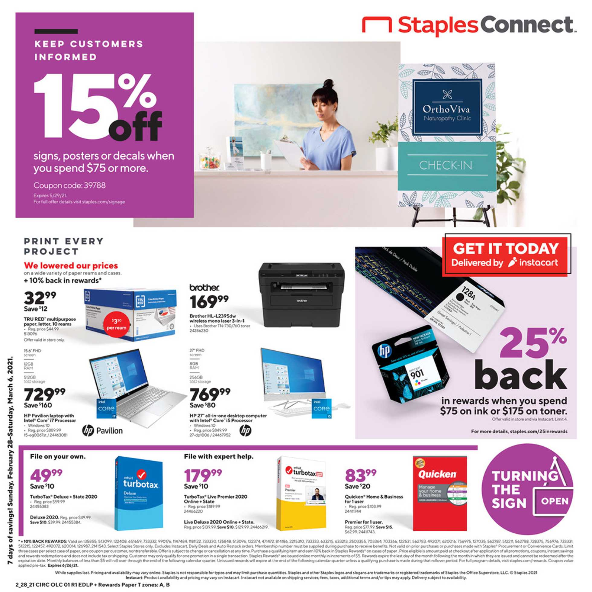 Staples - deals are valid from 02/28/21 to 03/06/21 - page 1.