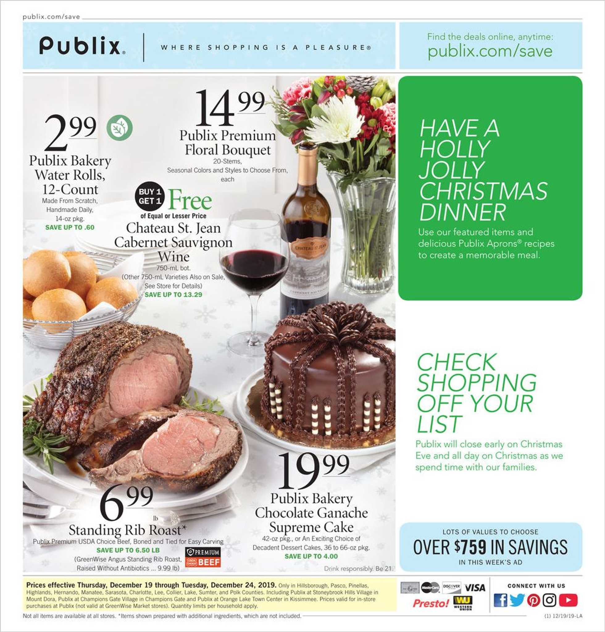 Publix - deals are valid from 12/19/19 to 12/24/19 - page 1.