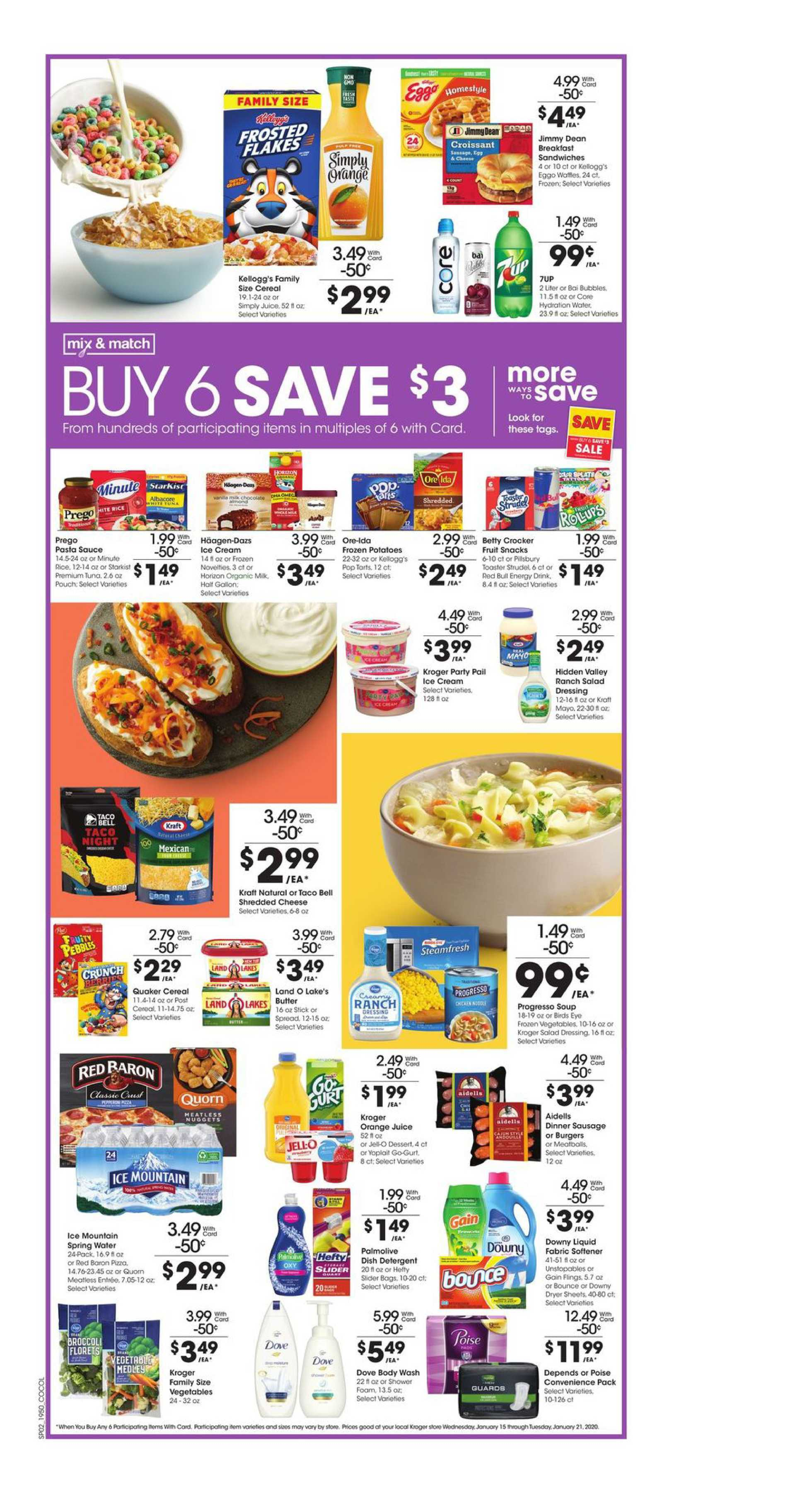 Kroger - promo starting from 01/15/20 to 01/21/20 - page 3. The promotion includes mayo, cereal, egg, cereal, mayo, egg