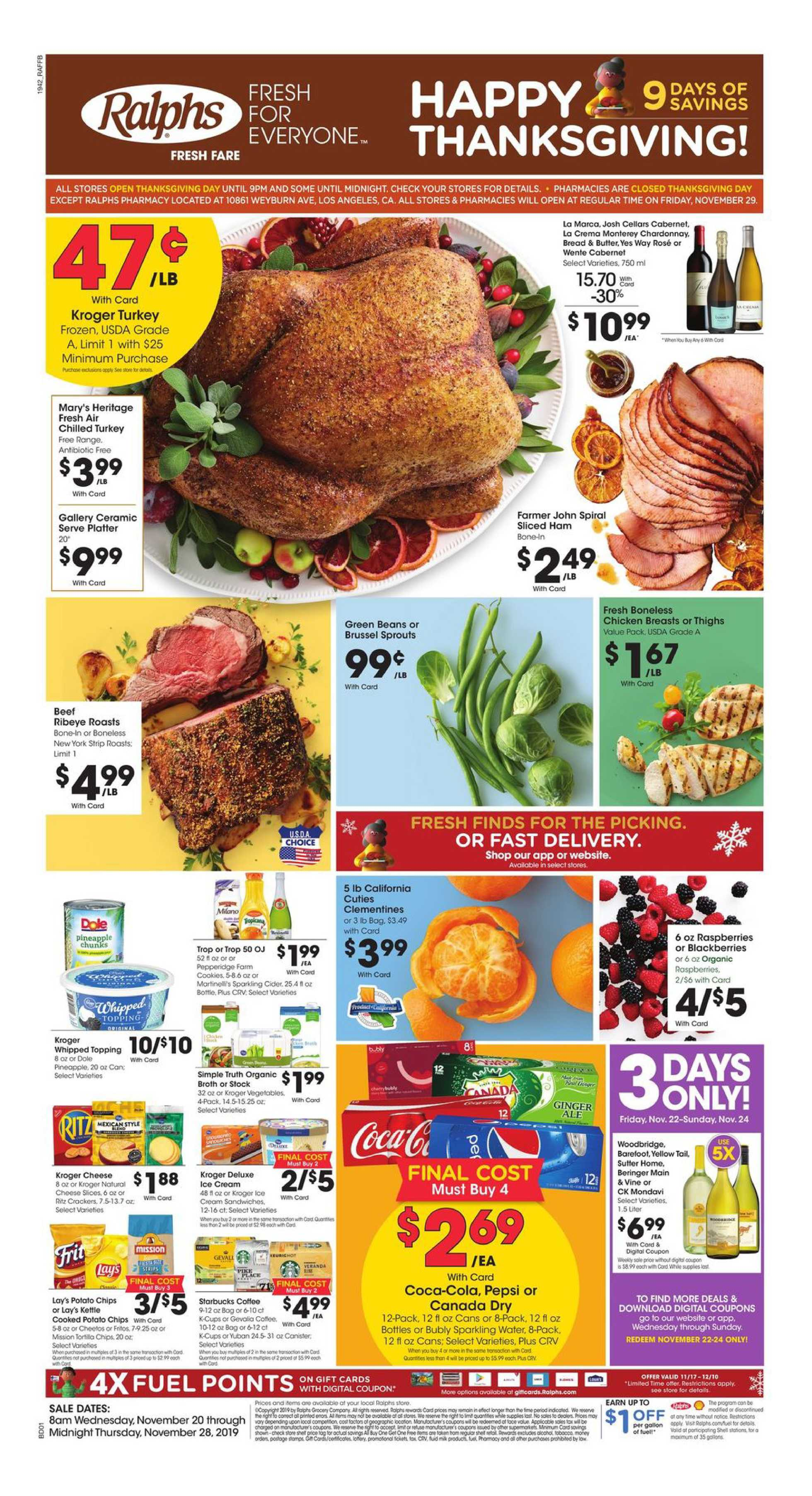 Ralphs - deals are valid from 11/20/19 to 11/28/19 - page 1.