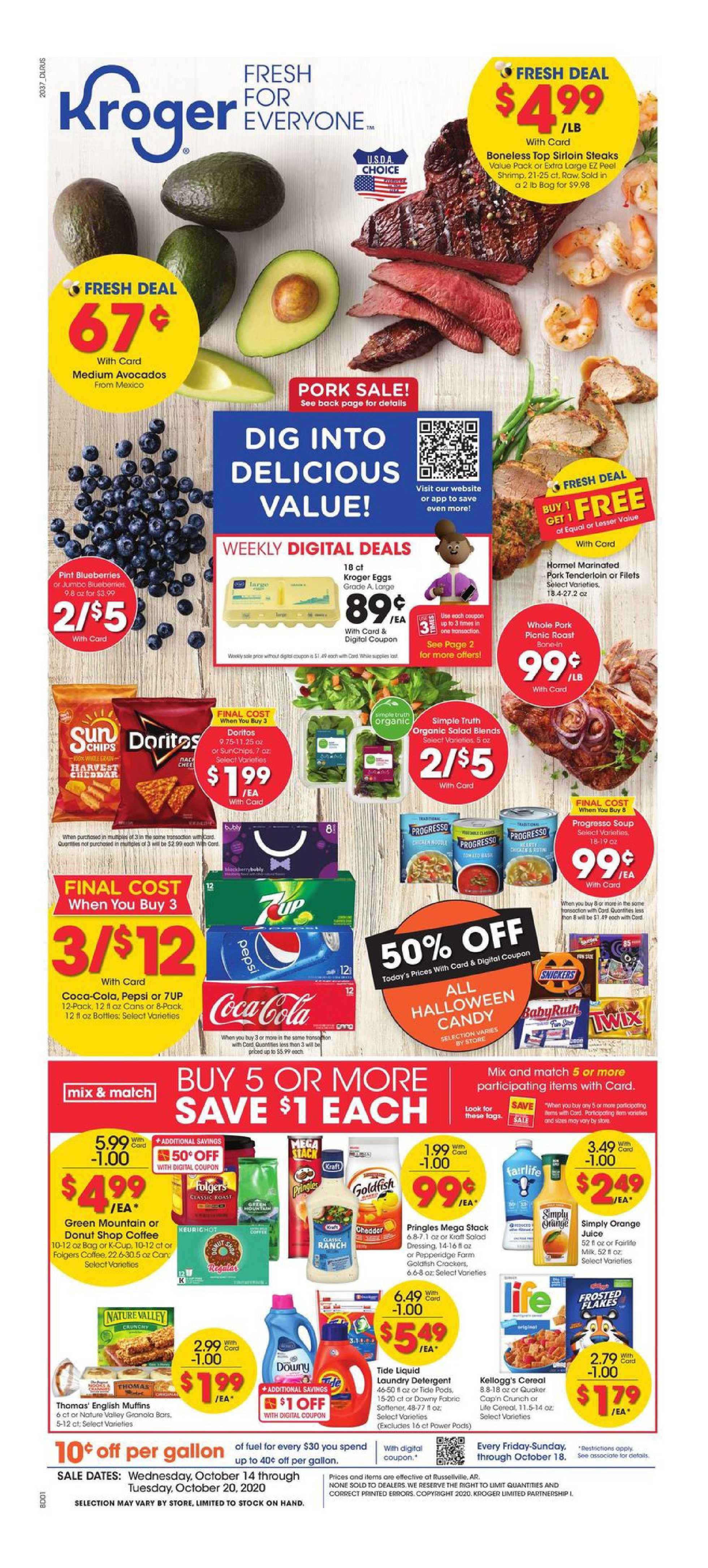 Kroger - deals are valid from 10/14/20 to 10/20/20 - page 1.