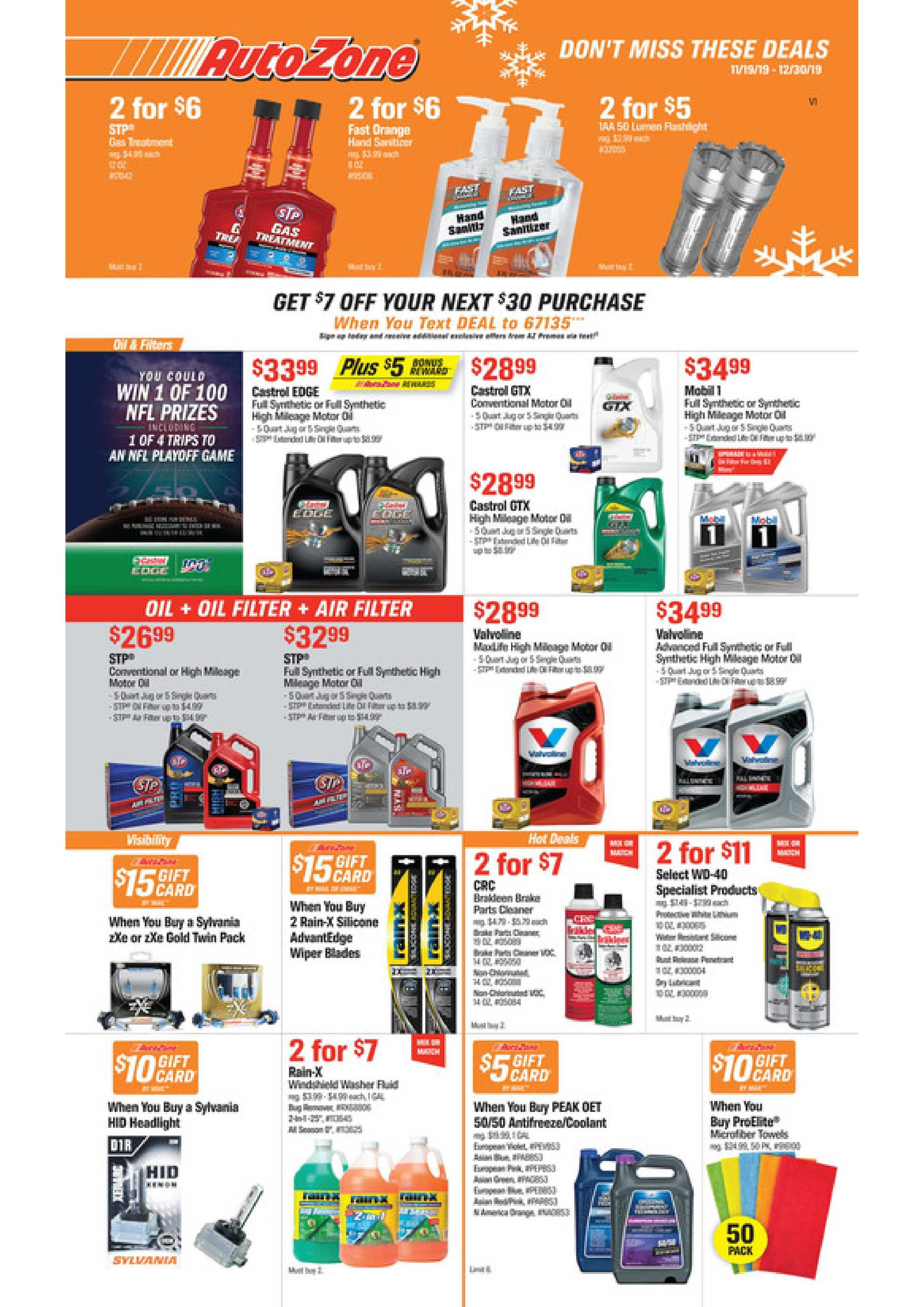 AutoZone - deals are valid from 11/19/19 to 12/30/19 - page 1.