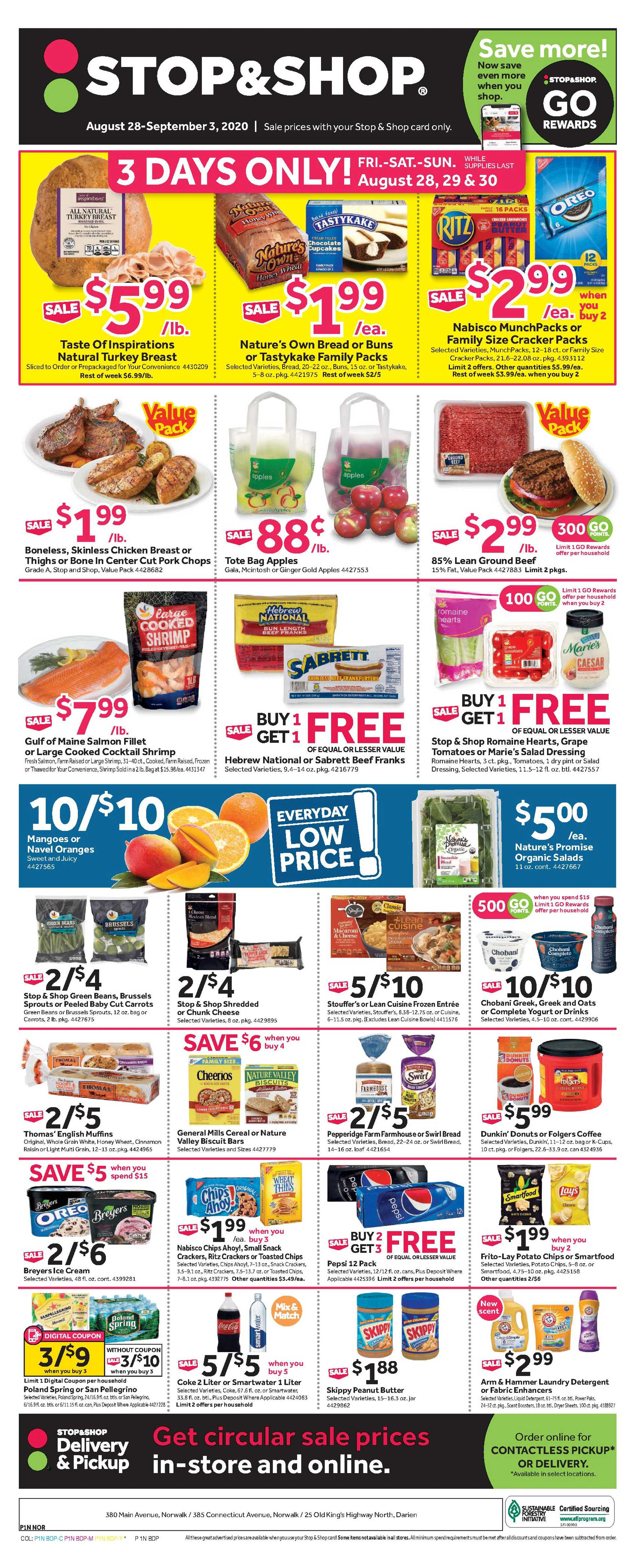 Stop & Shop - deals are valid from 08/28/20 to 09/03/20 - page 1.