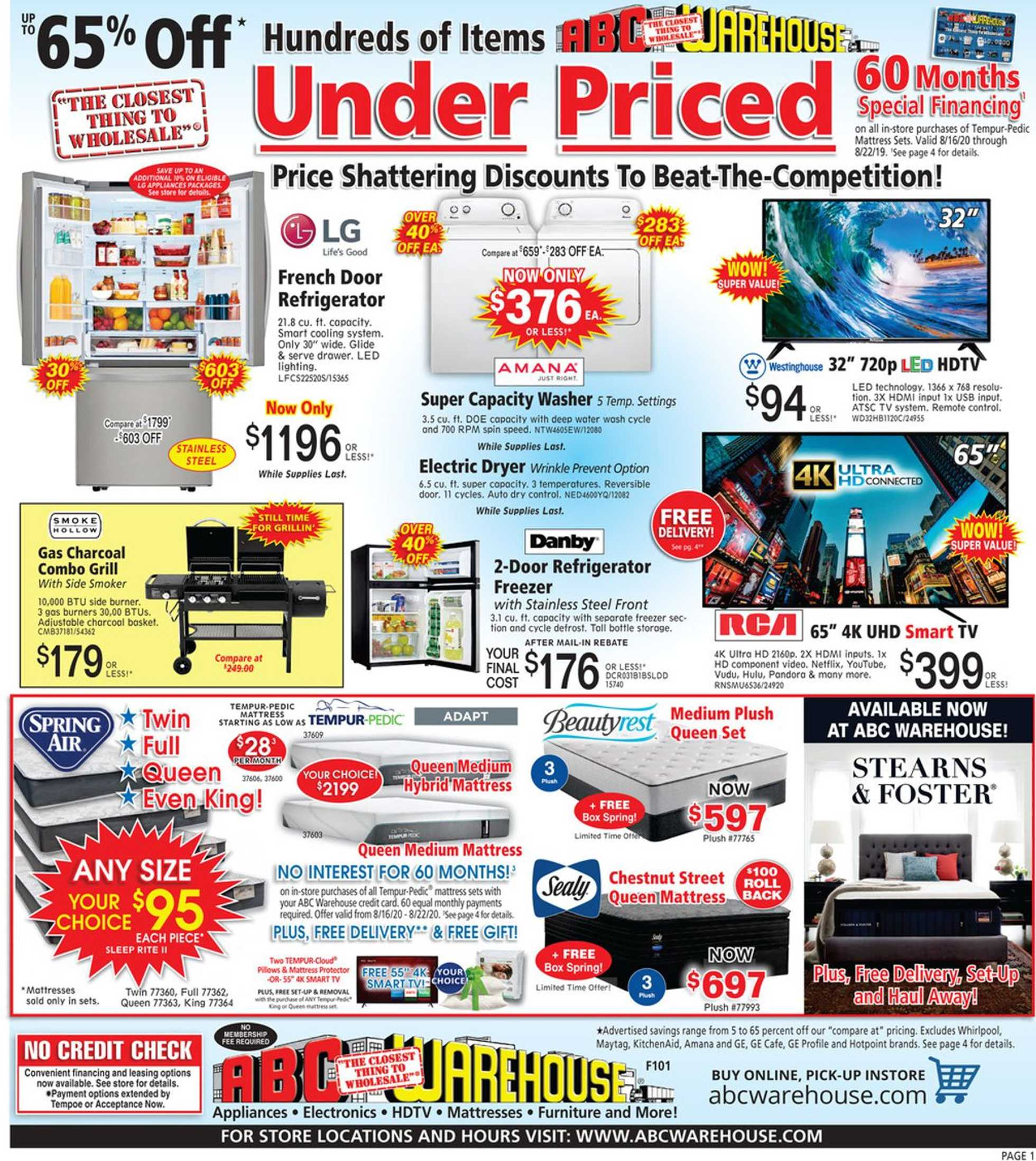 ABC Warehouse - deals are valid from 08/16/20 to 08/22/20 - page 1.