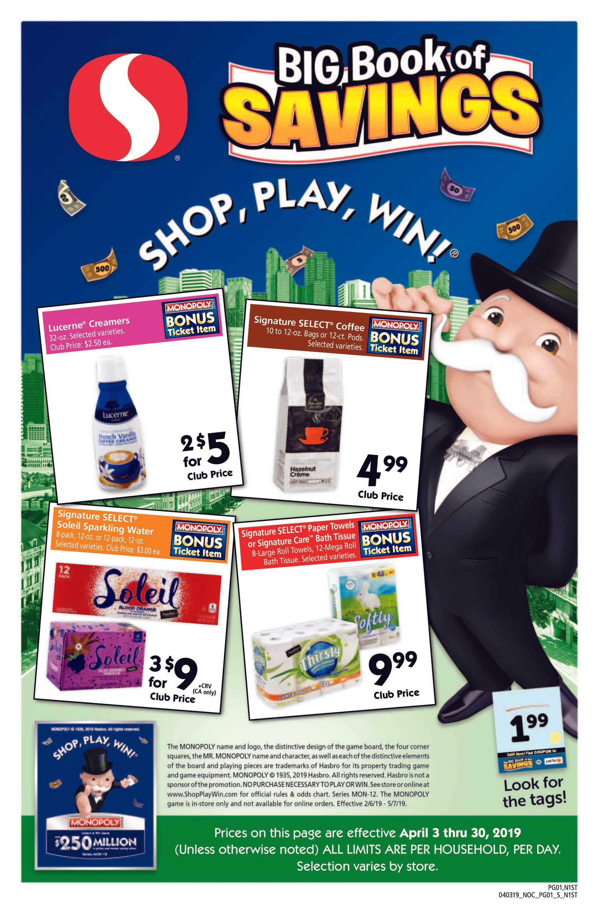 Safeway - promo starting from 04/03/19 to 04/30/19 - page 1.