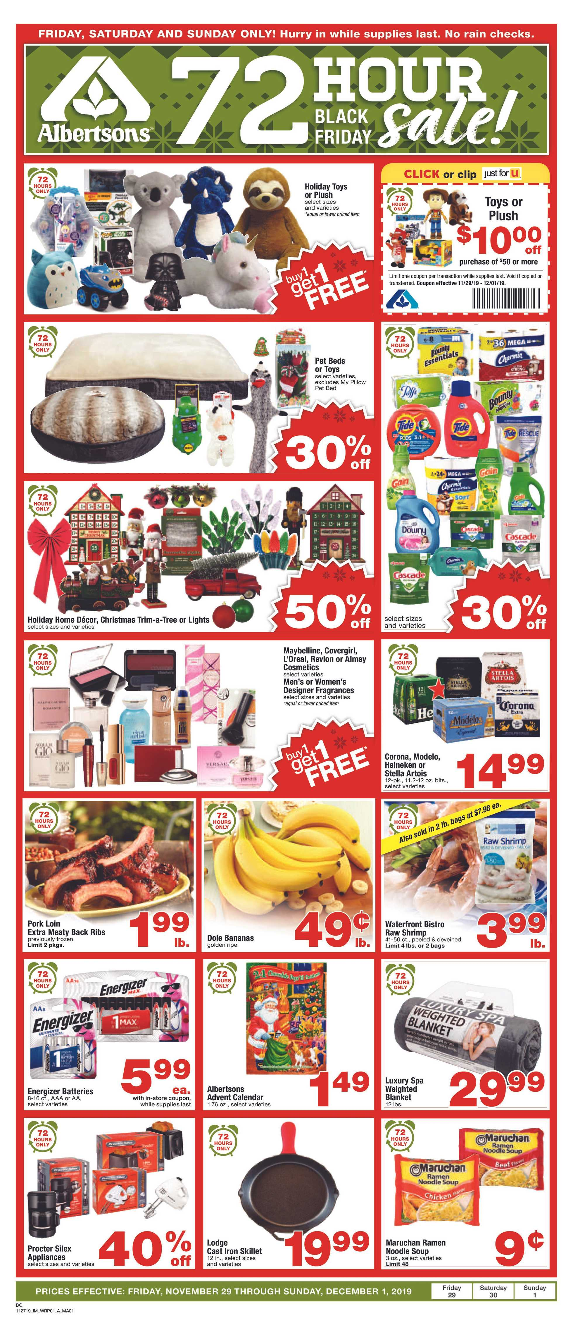Albertsons - deals are valid from 11/29/19 to 12/03/19 - page 1.
