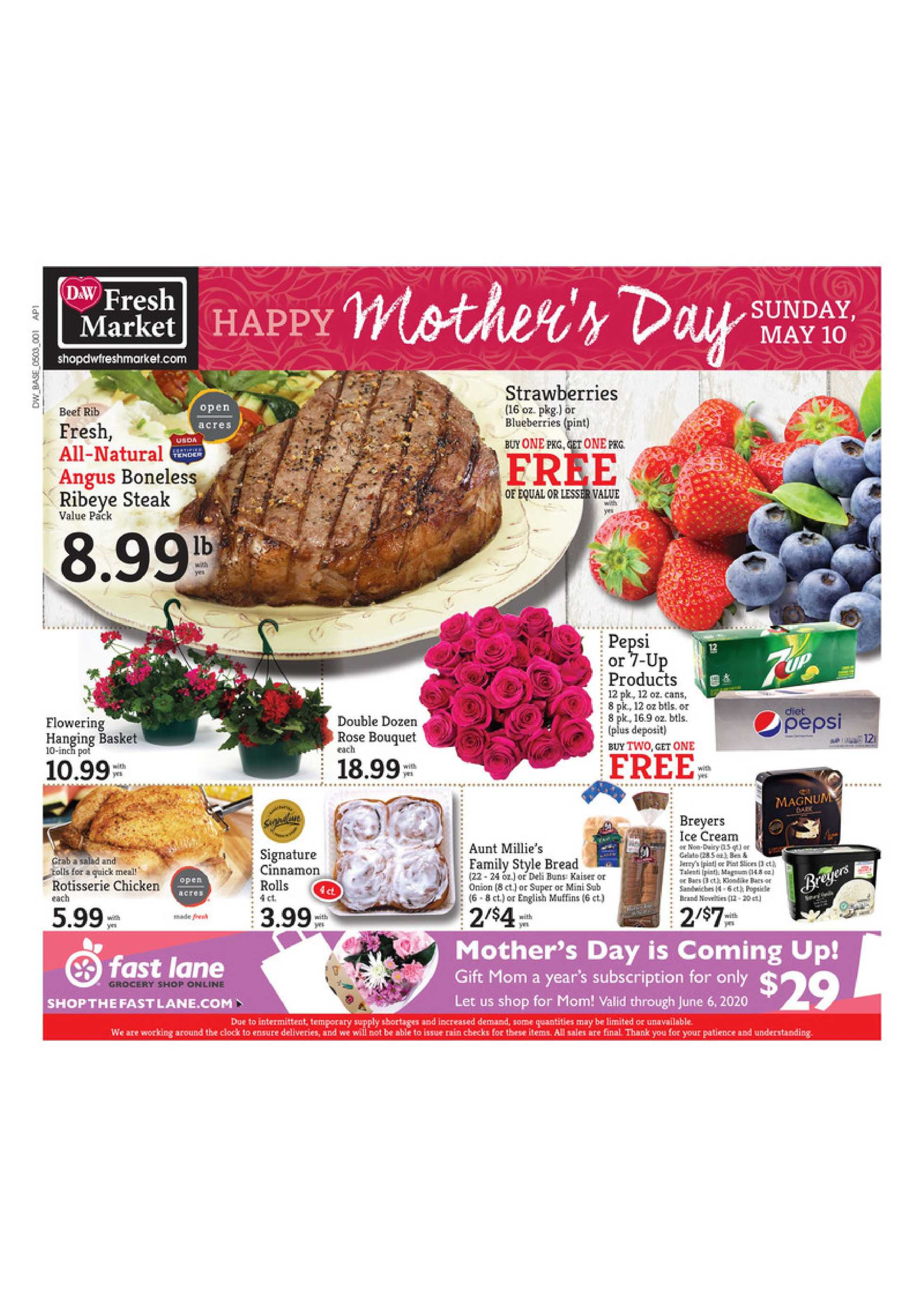 D&W Fresh Market - deals are valid from 05/03/20 to 05/09/20 - page 1.