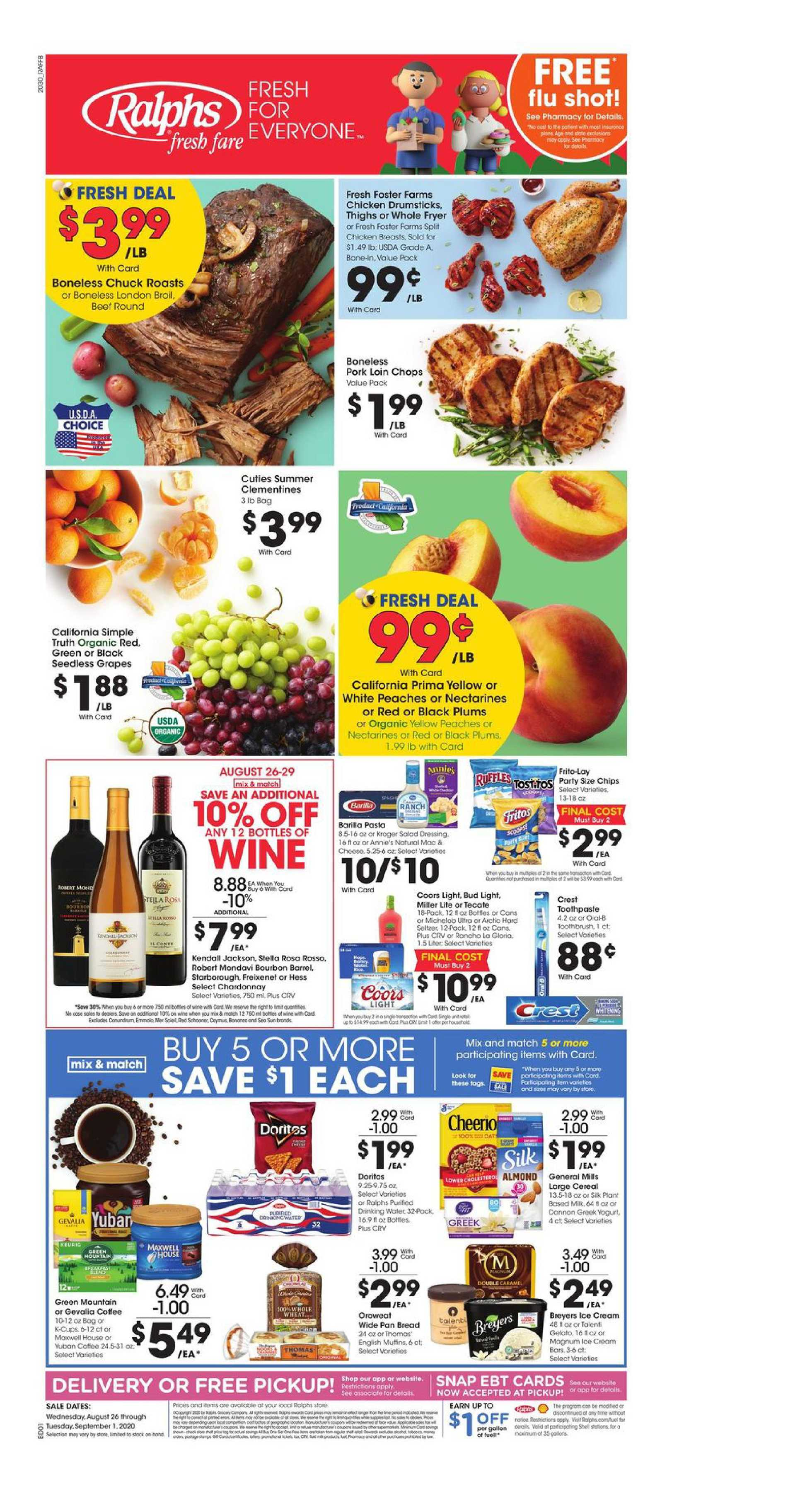 Ralphs - deals are valid from 08/26/20 to 09/01/20 - page 1.