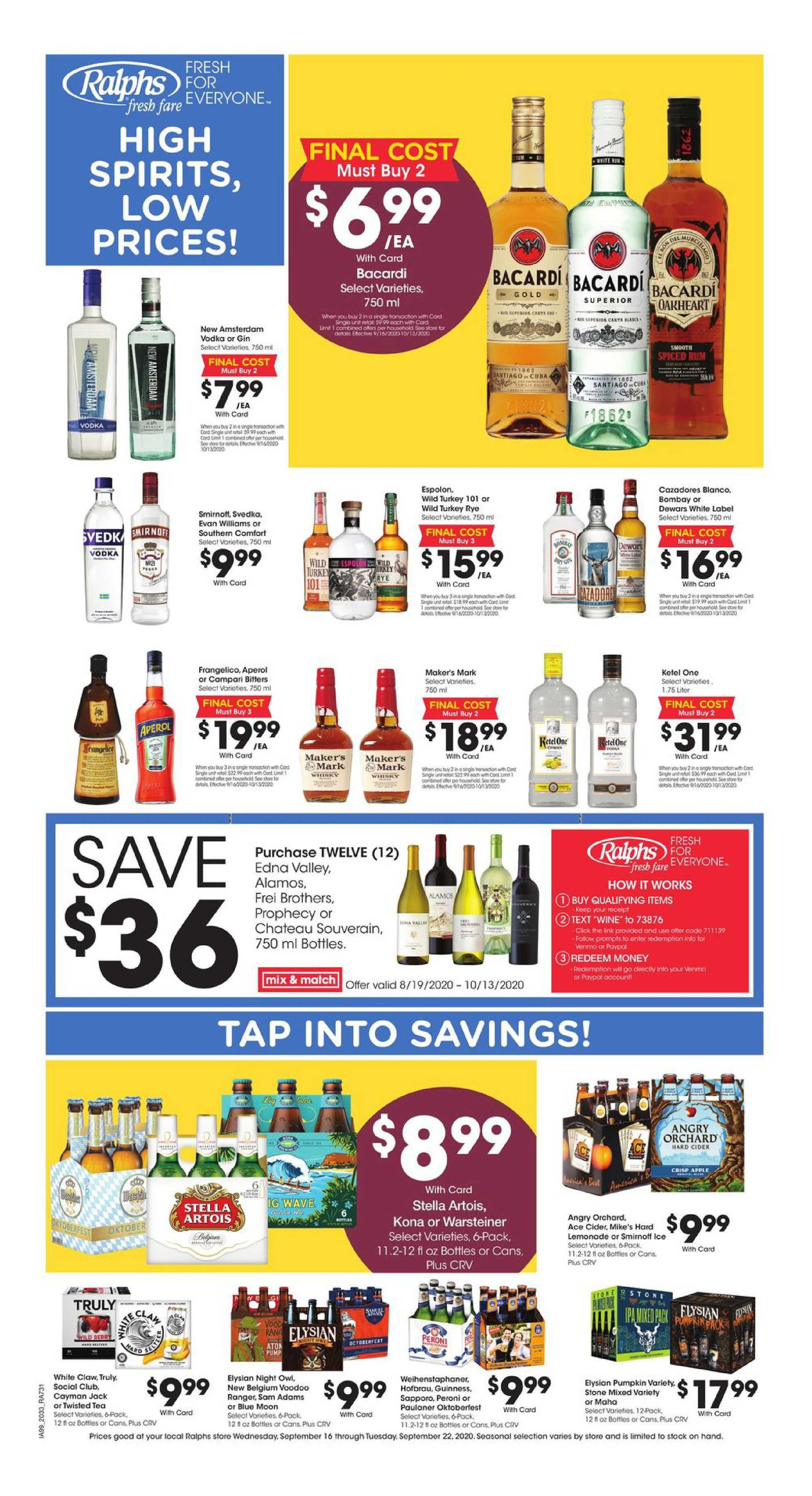 Ralphs - deals are valid from 09/16/20 to 09/22/20 - page 1.