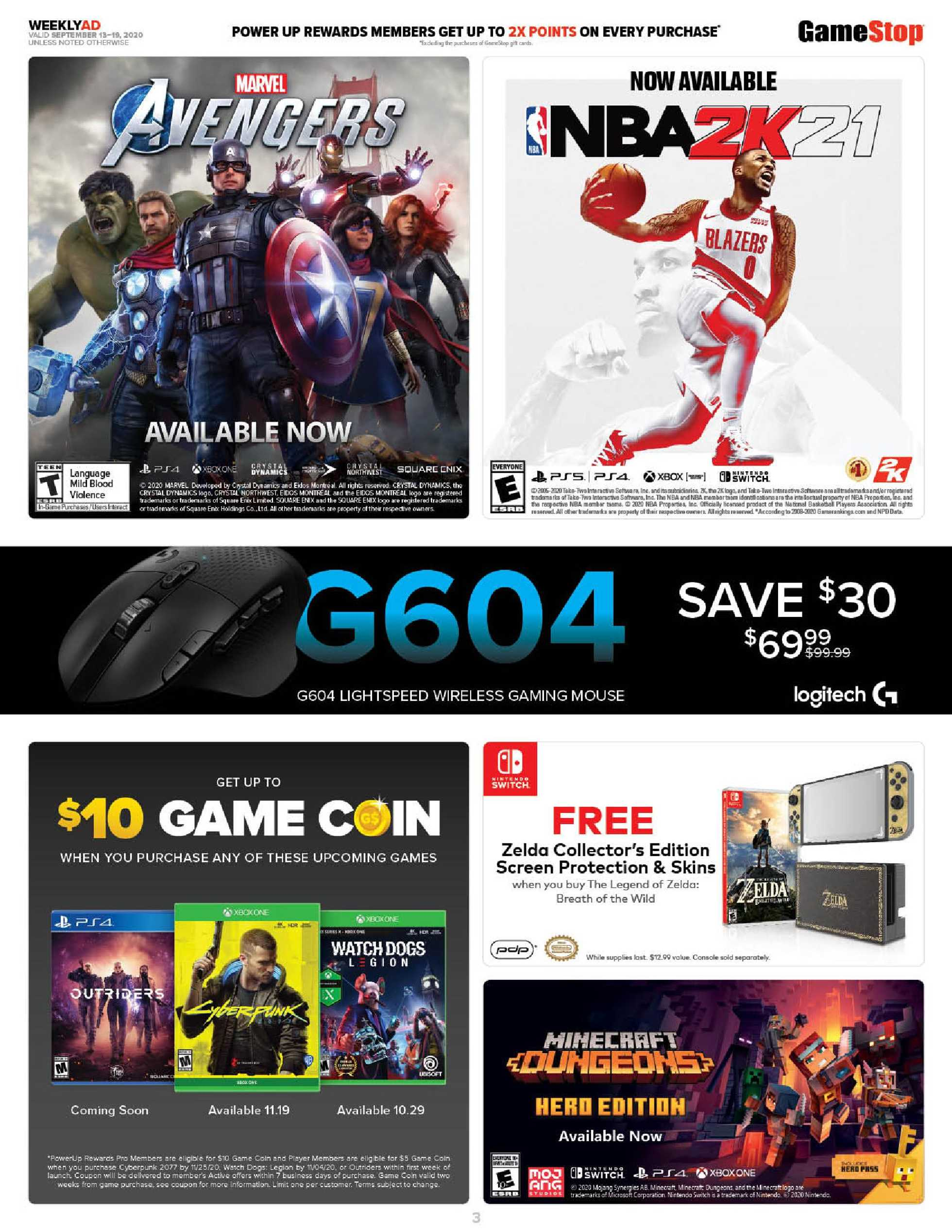 GameStop - deals are valid from 09/13/20 to 09/19/20 - page 3.
