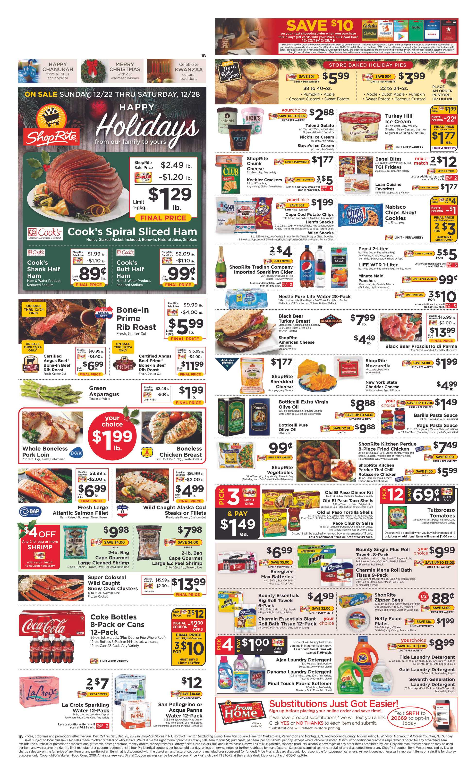 ShopRite - deals are valid from 12/22/19 to 12/28/19 - page 1.