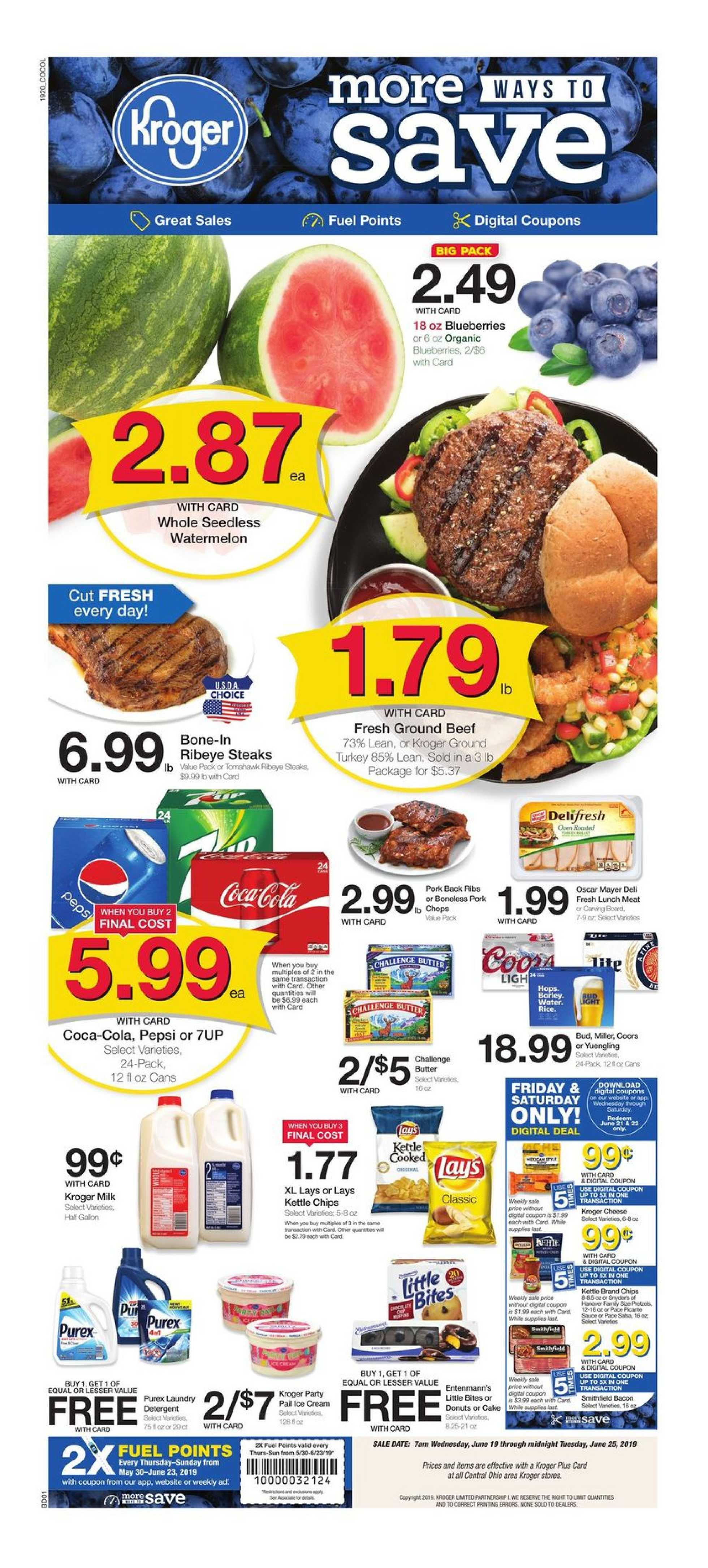 Kroger - deals are valid from 06/19/19 to 06/25/19 - page 1.