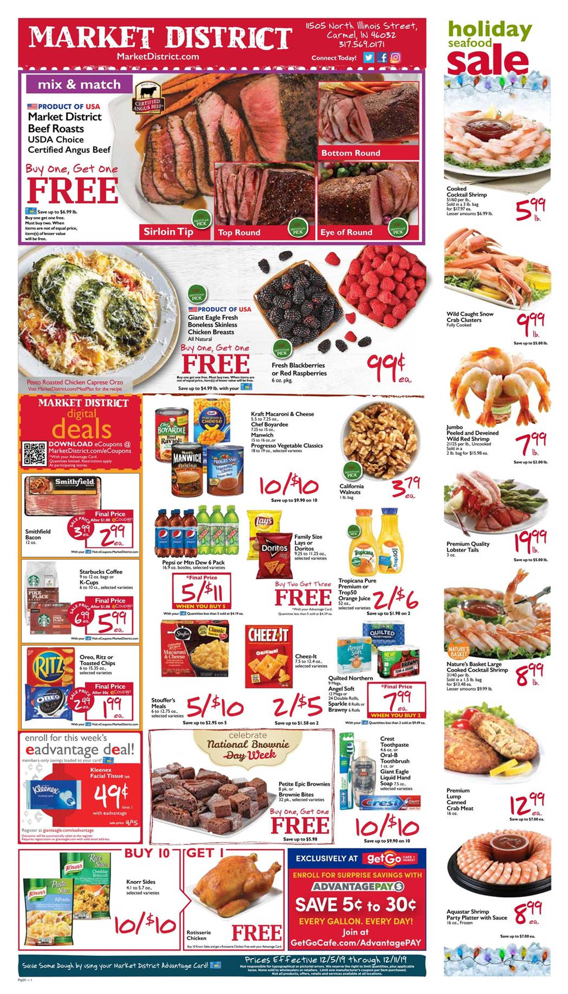 Market District - deals are valid from 12/05/19 to 12/11/19 - page 1.