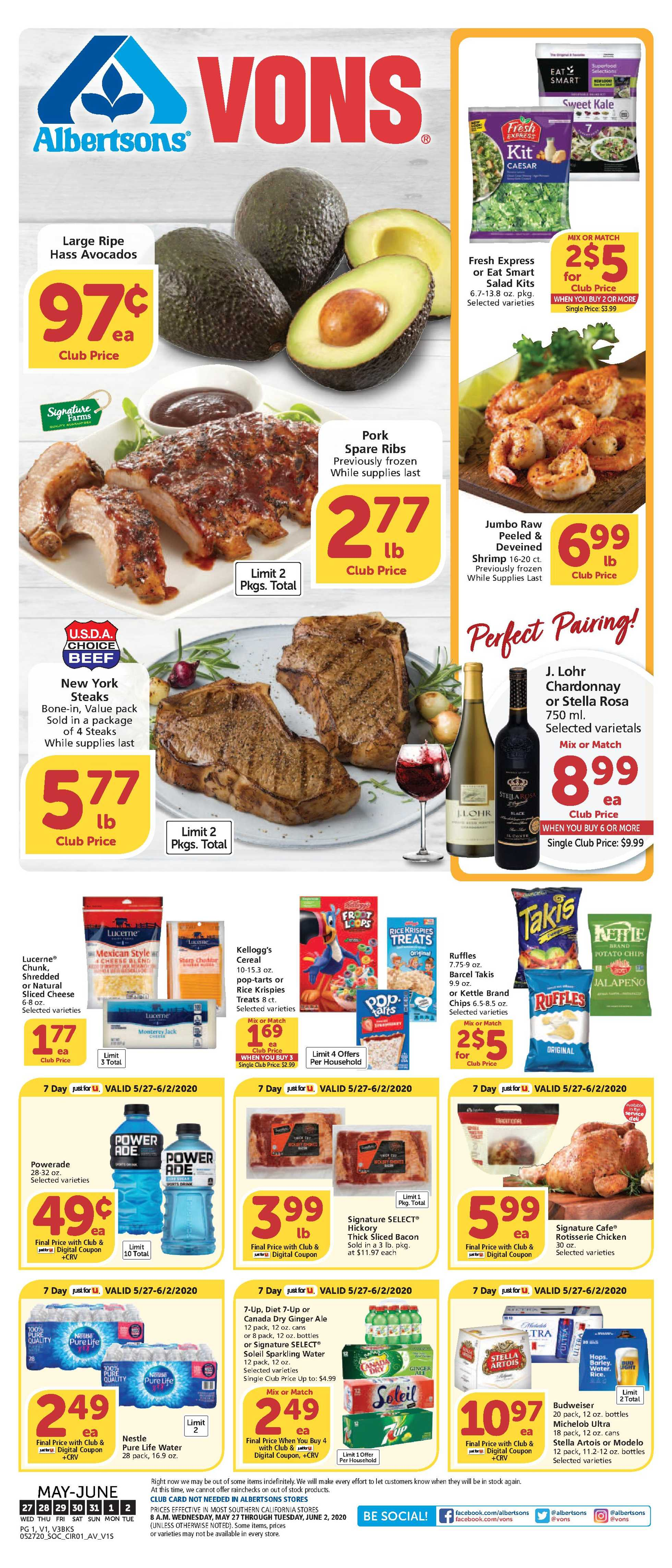 Vons - deals are valid from 05/27/20 to 06/02/20 - page 1.