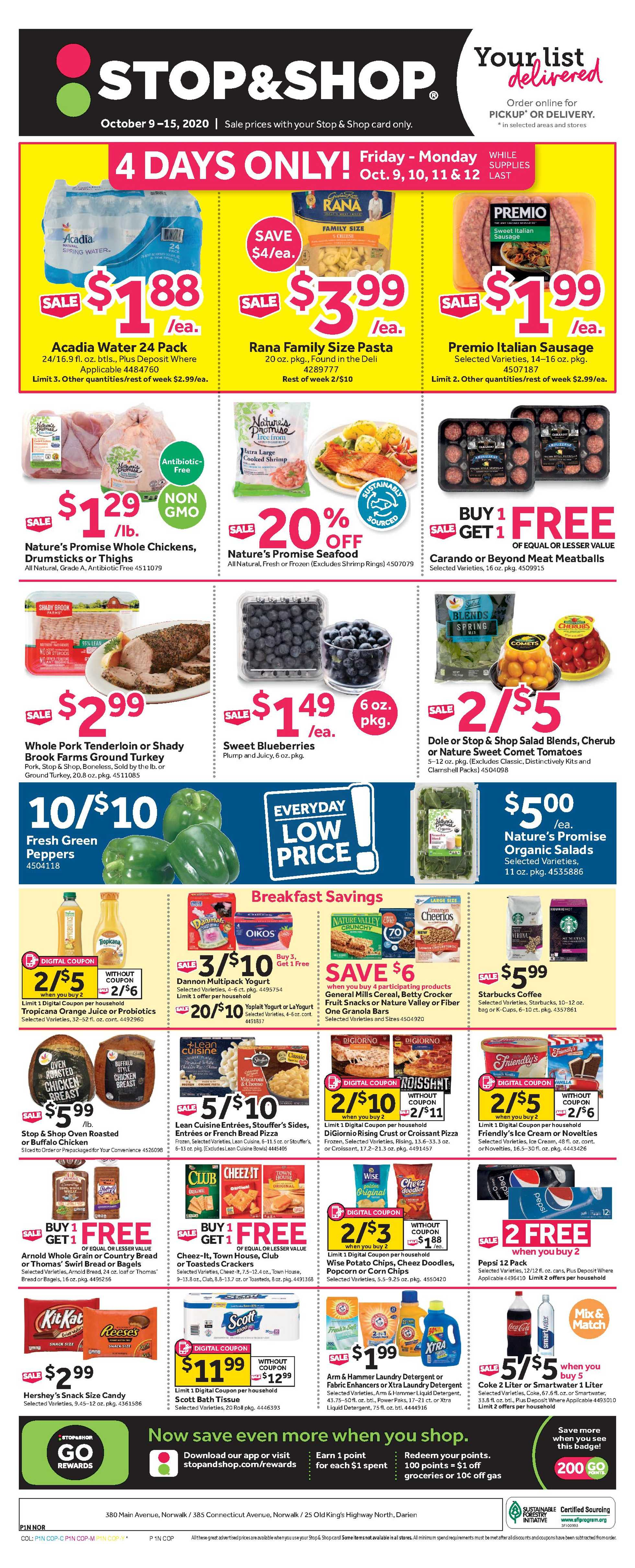 Stop & Shop - deals are valid from 10/09/20 to 10/15/20 - page 1.