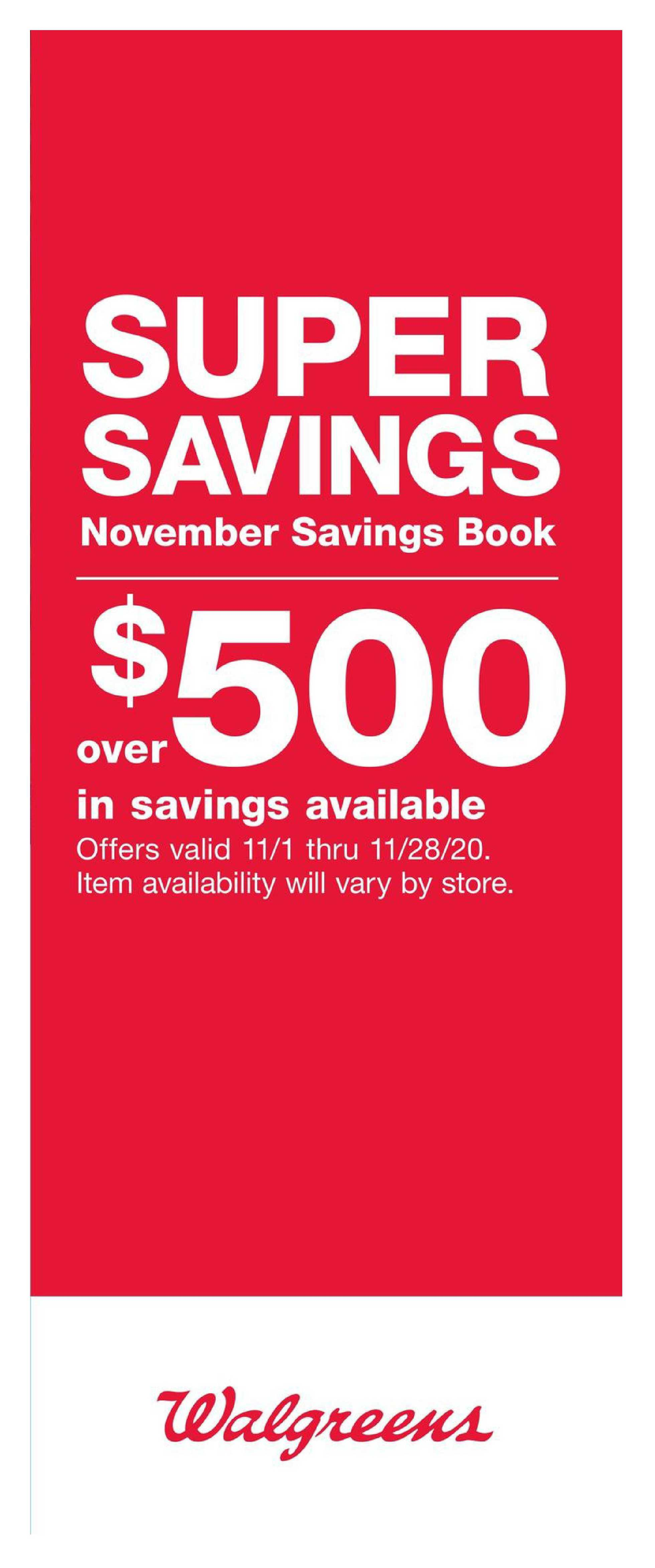 Walgreens - deals are valid from 11/01/20 to 11/28/20 - page 1.