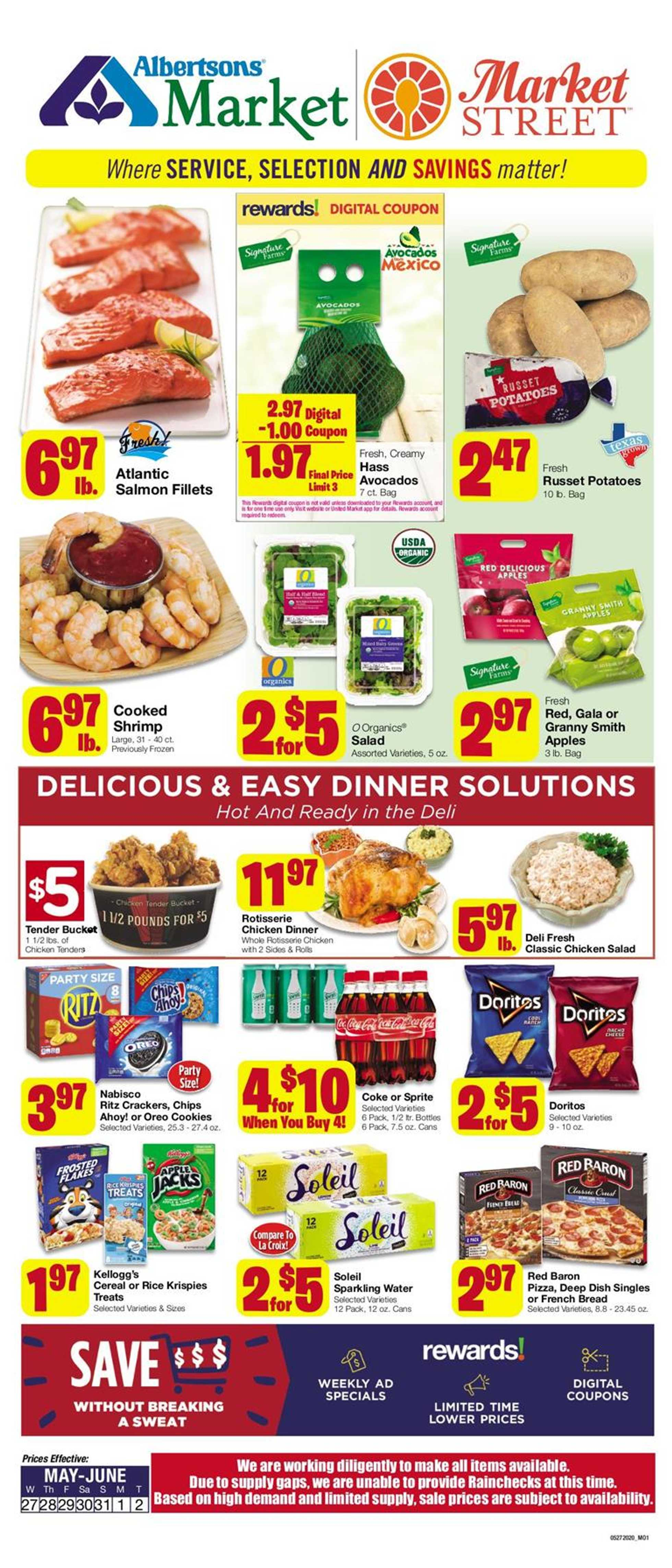 Albertsons - deals are valid from 05/27/20 to 06/02/20 - page 1.