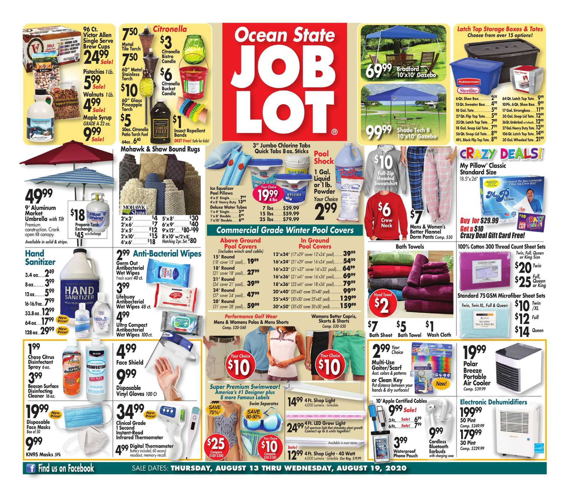 Ocean State Job Lot - deals are valid from 08/13/20 to 08/19/20 - page 1.