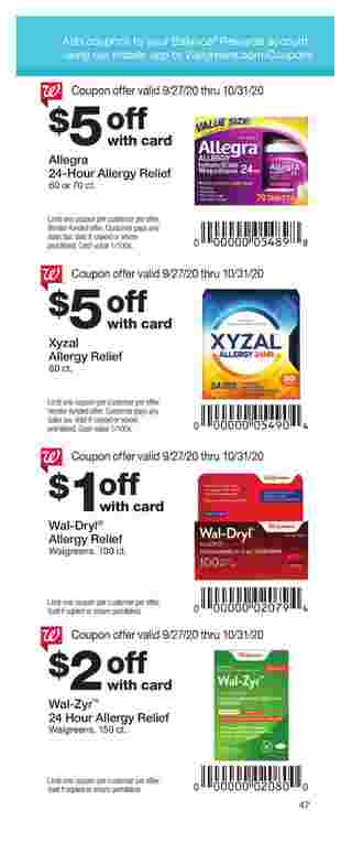 Walgreens - deals are valid from 09/27/20 to 10/31/20 - page 47.
