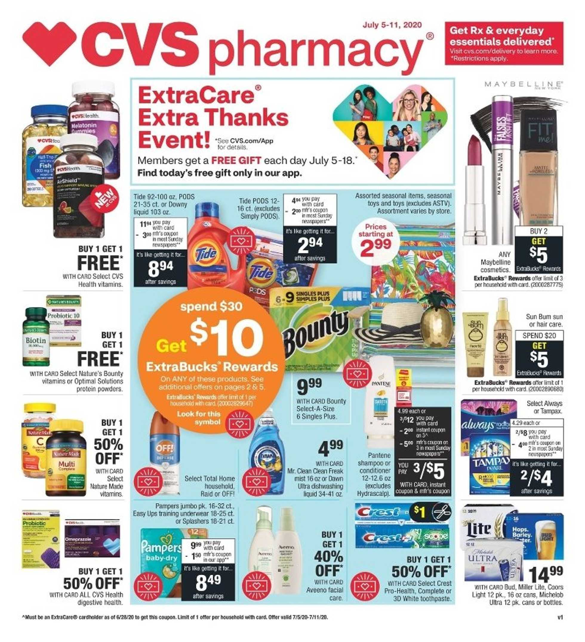 CVS - deals are valid from 07/05/20 to 07/11/20 - page 1.