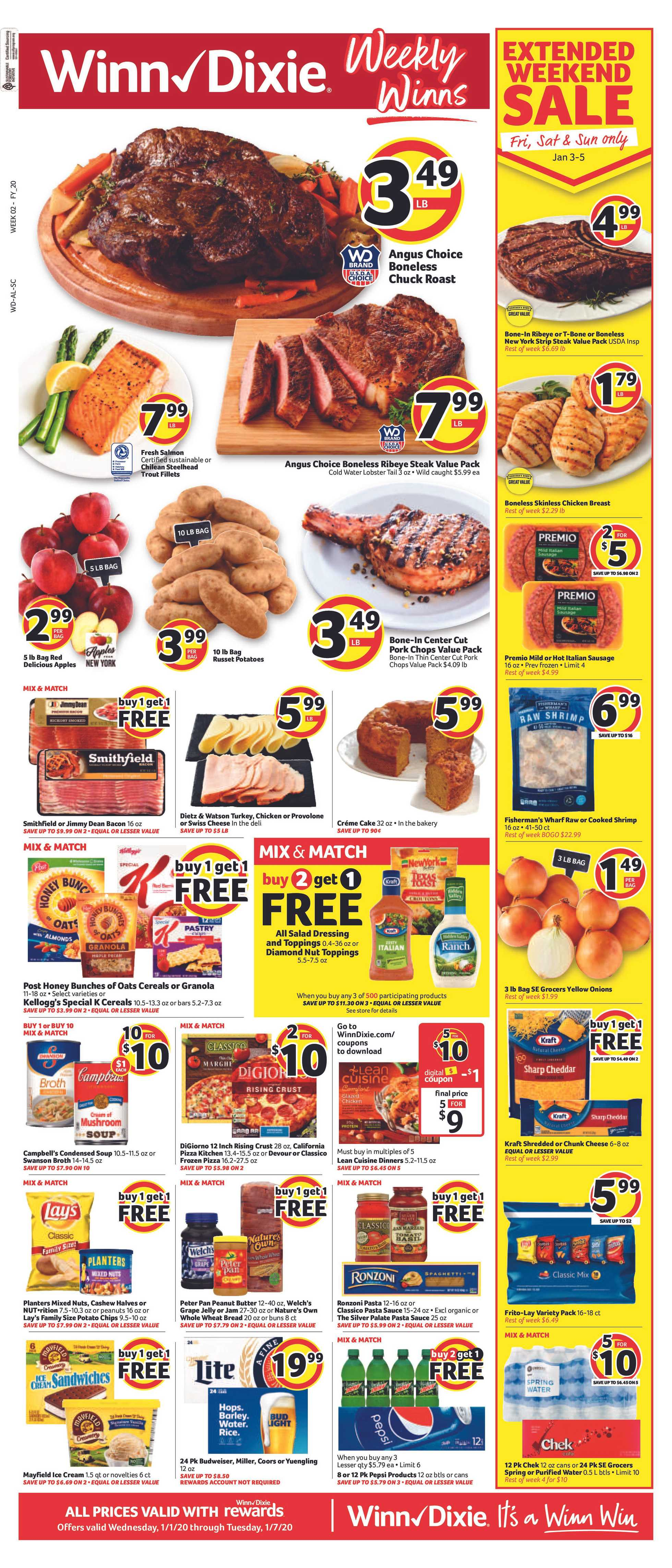 Winn Dixie - deals are valid from 01/01/20 to 01/07/20 - page 1.