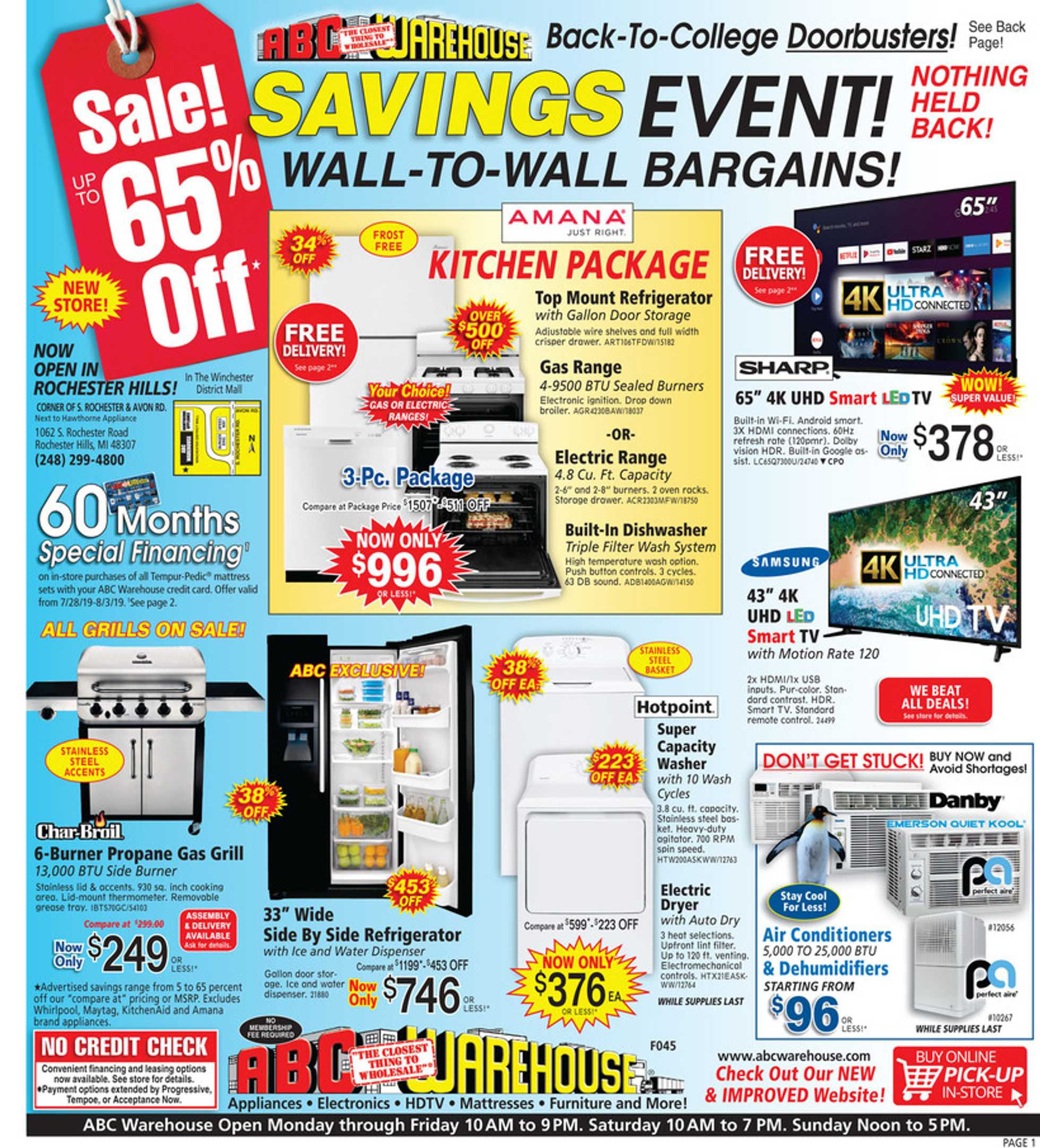 ABC Warehouse - deals are valid from 07/28/19 to 08/03/19 - page 1.