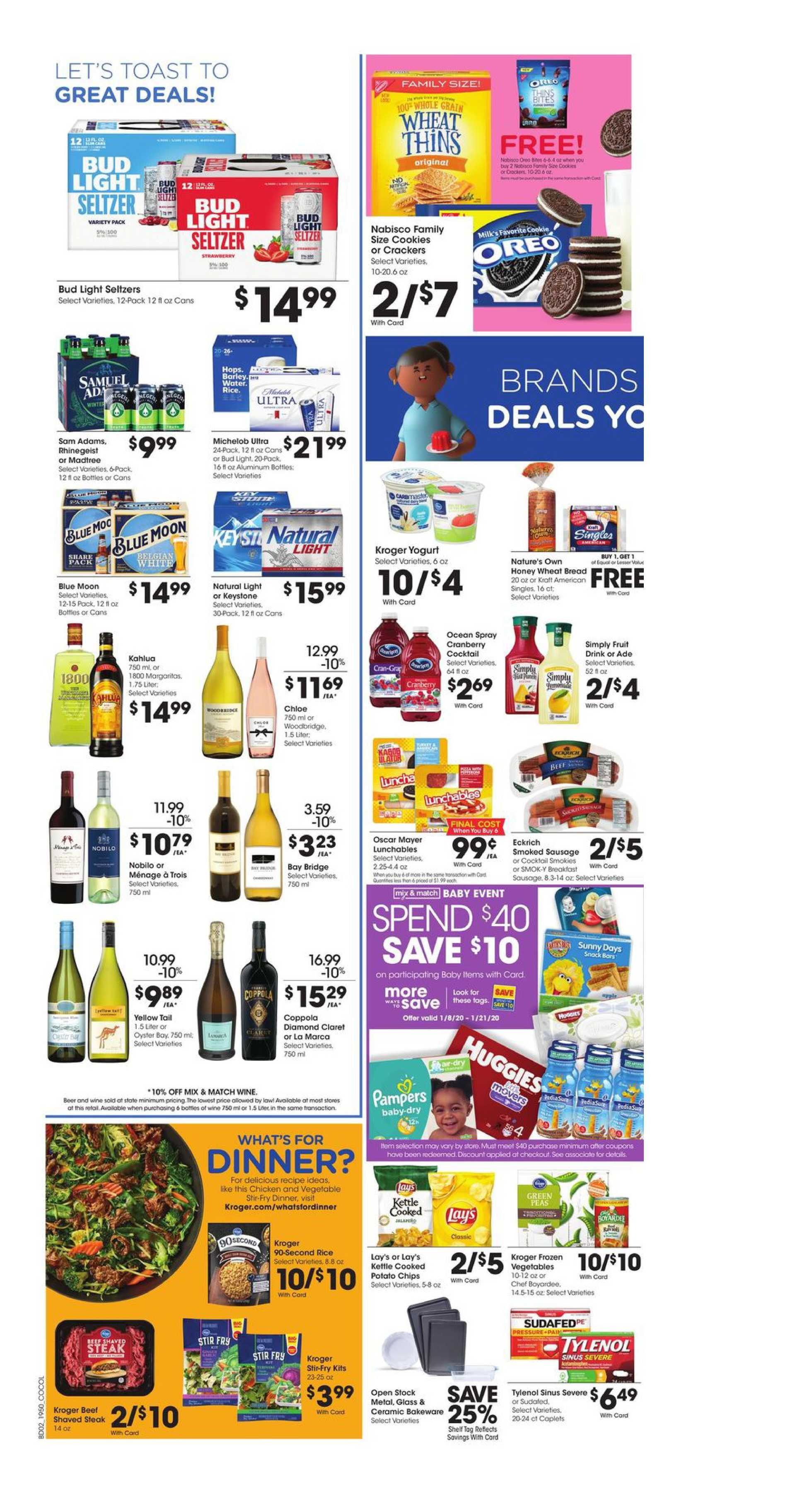 Kroger - promo starting from 01/15/20 to 01/21/20 - page 4. The promotion includes bakeware, potato, cookie, potato, cookie, bakeware
