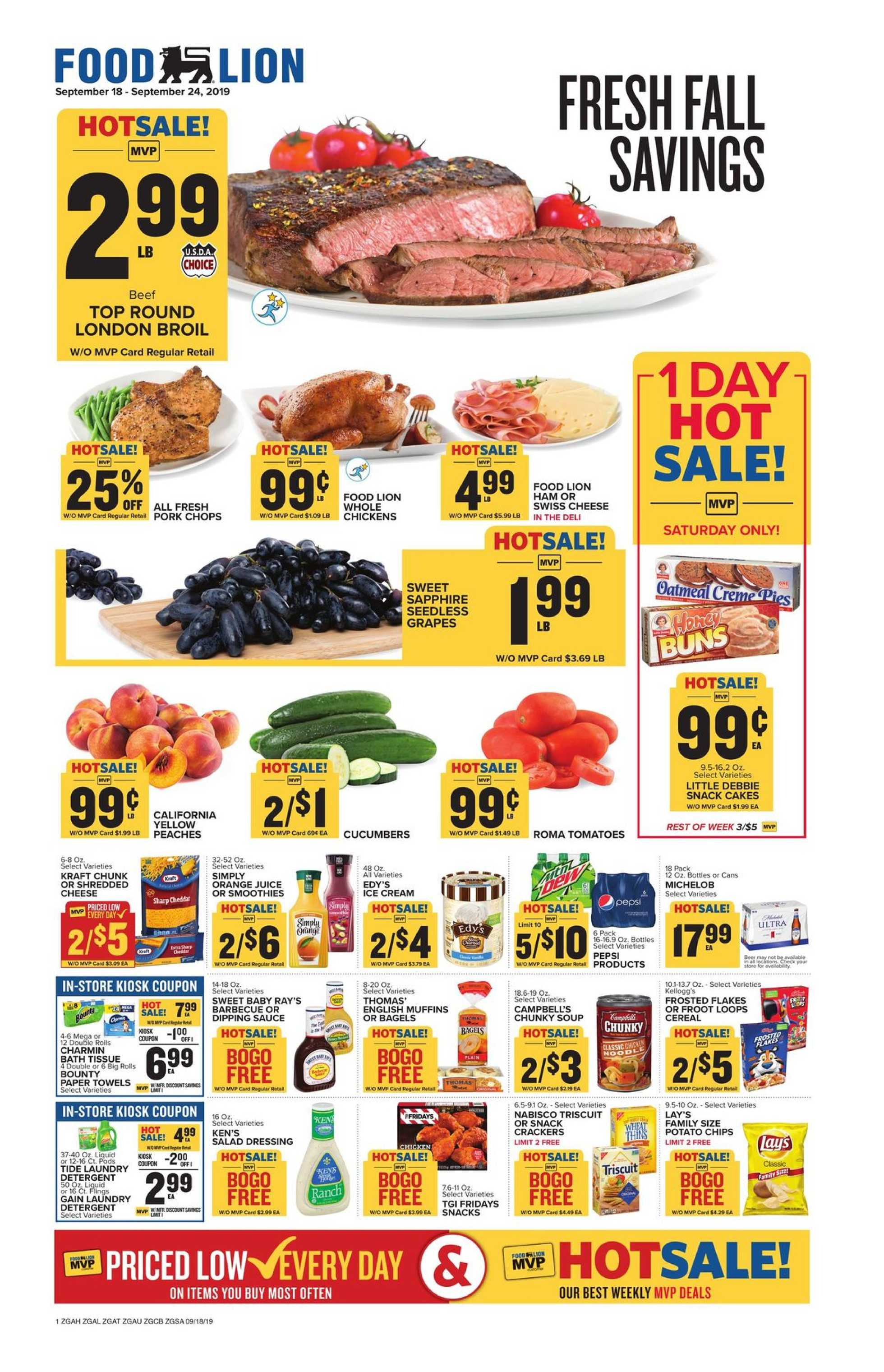 Food Lion - deals are valid from 09/18/19 to 09/24/19 - page 1.
