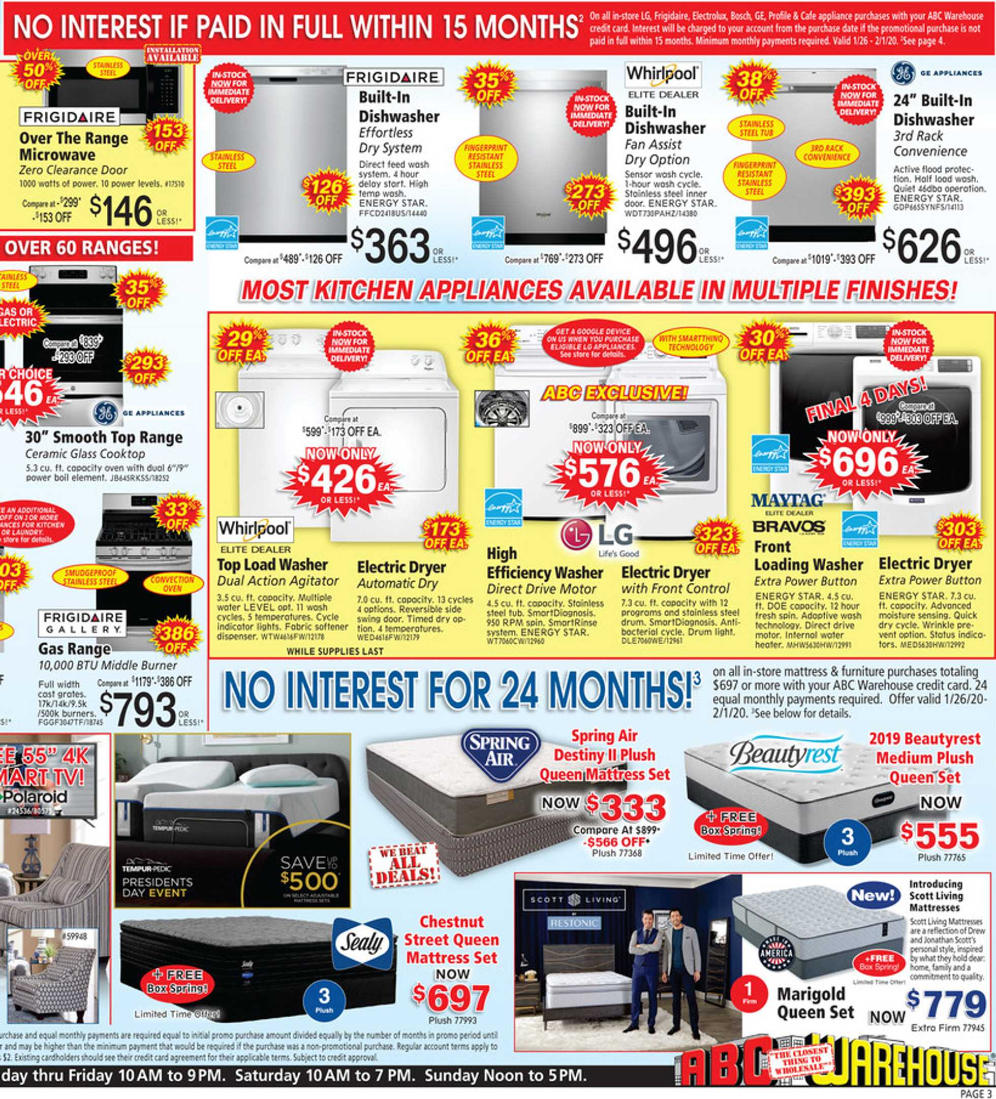 ABC Warehouse - deals are valid from 01/26/20 to 02/01/20 - page 3.