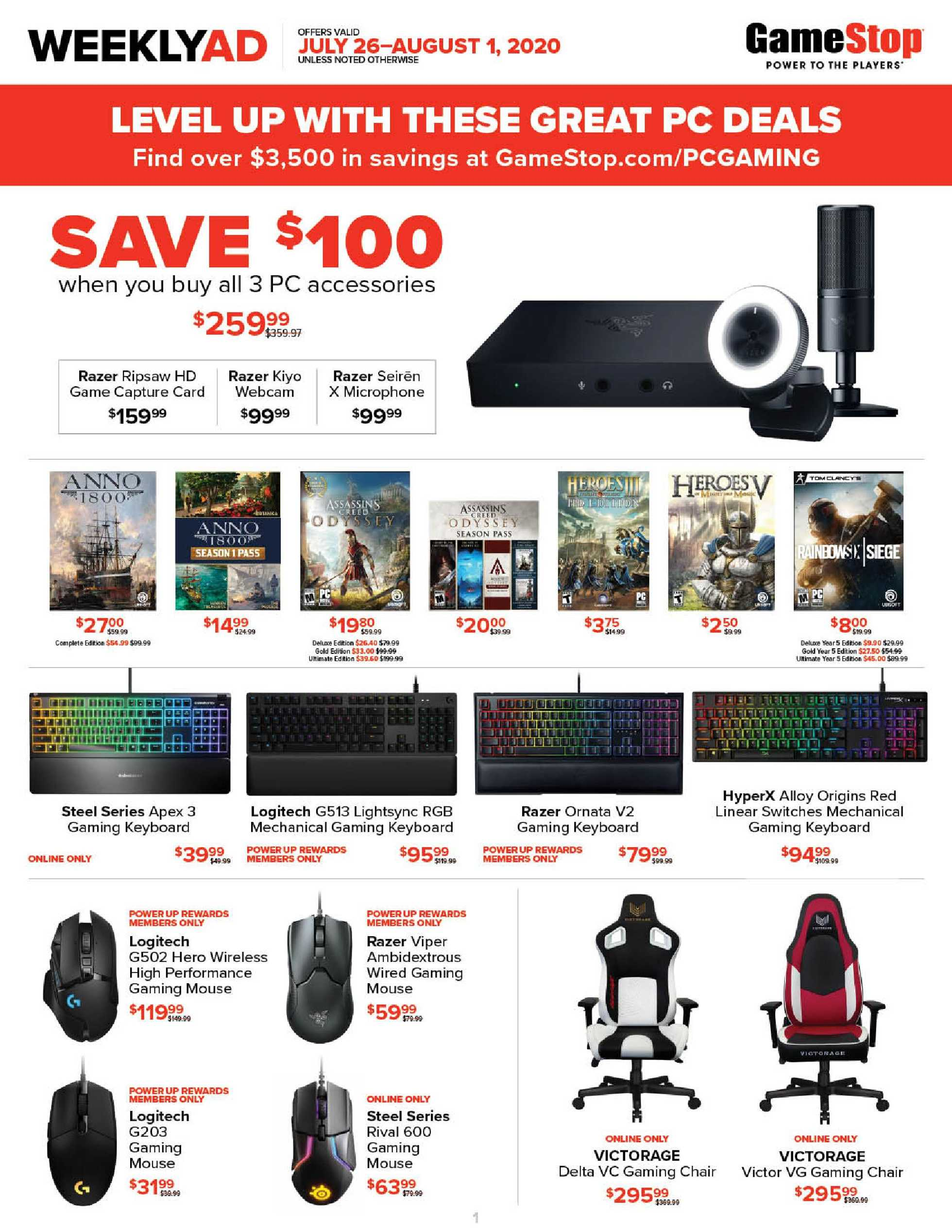 GameStop - deals are valid from 07/26/20 to 08/01/20 - page 1.