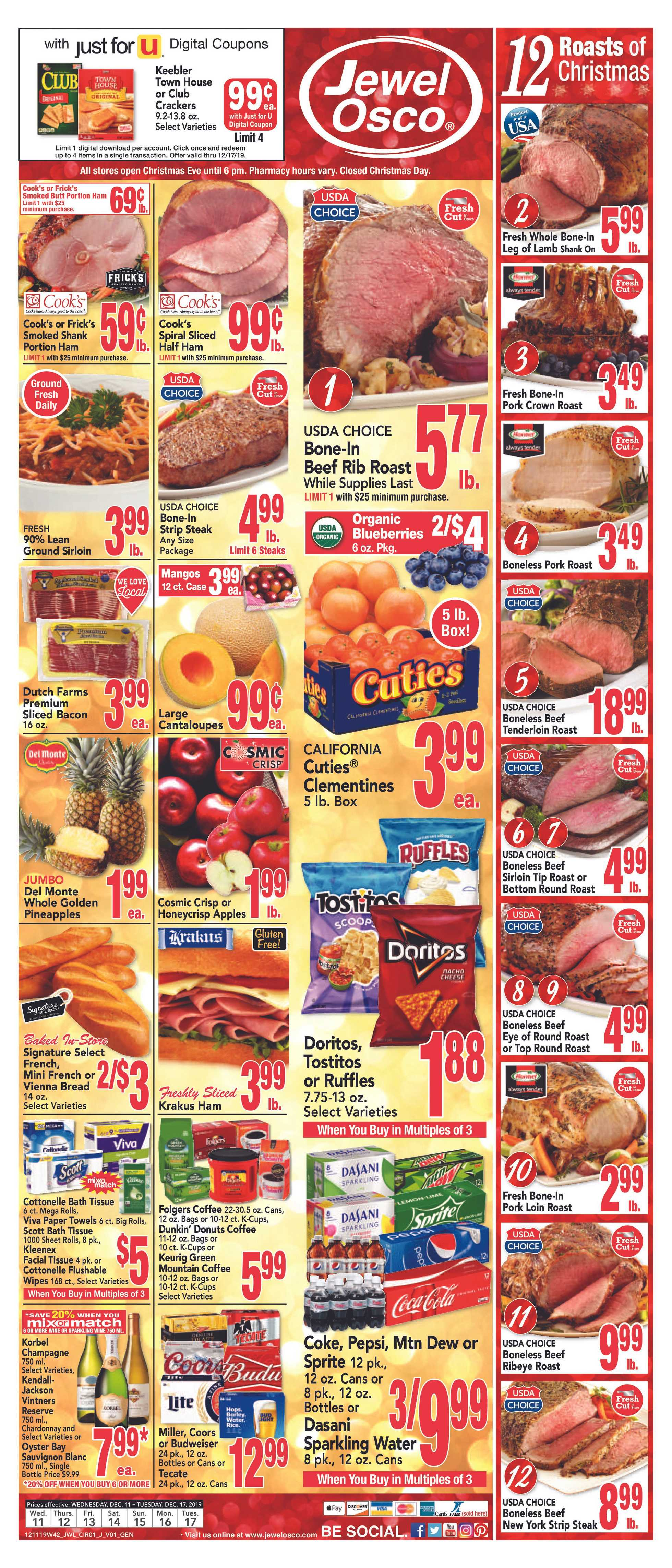Jewel Osco - deals are valid from 12/11/19 to 12/17/19 - page 1.